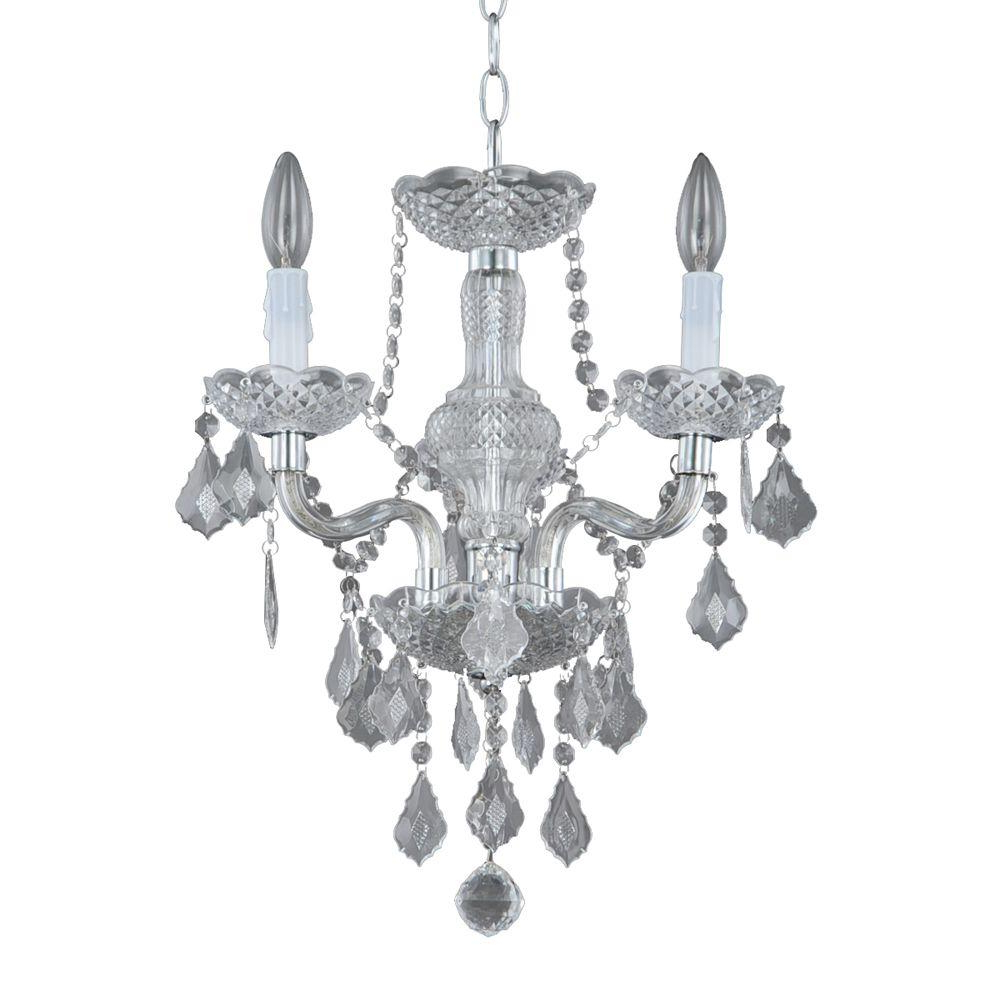 Hampton Bay Maria Theresa 3-Light Chrome And Clear Acrylic Mini Chandelier pertaining to Best and Newest Von 4-Light Crystal Chandeliers