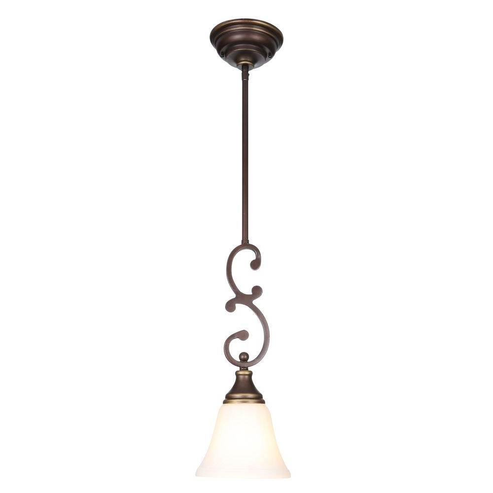 Hampton Bay Somerset 1 Light Oil Rubbed Bronze Mini Pendant With Bell Shaped Frosted Glass Shade Inside Current 1 Light Single Bell Pendants (View 12 of 25)