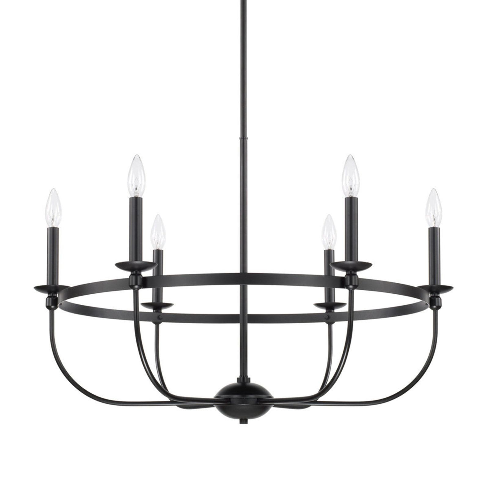 Hamza 6 Light Candle Style Chandeliers Intended For 2019 Simply Black Basket Chandelier – 6 Light In  (View 6 of 25)