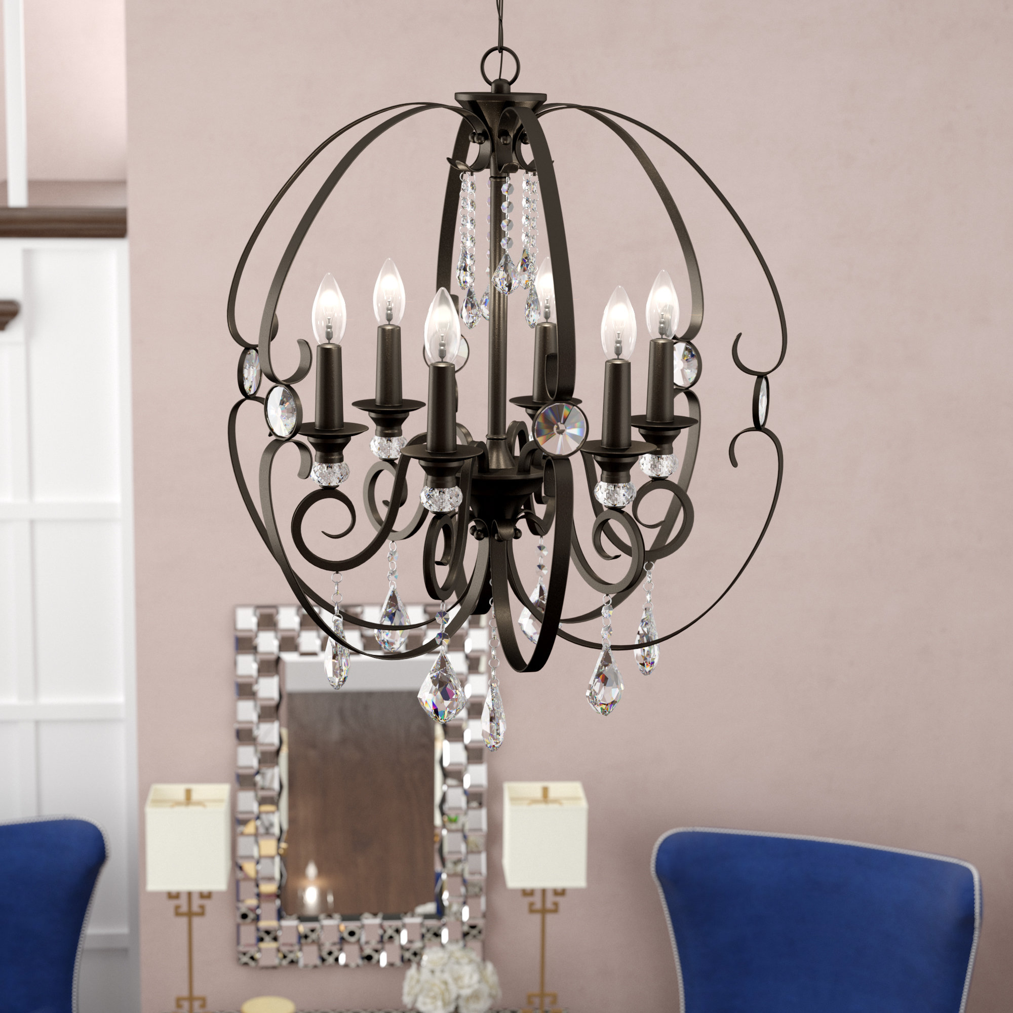 Hardouin 6 Light Globe Chandelier Inside Latest Alden 6 Light Globe Chandeliers (View 8 of 25)