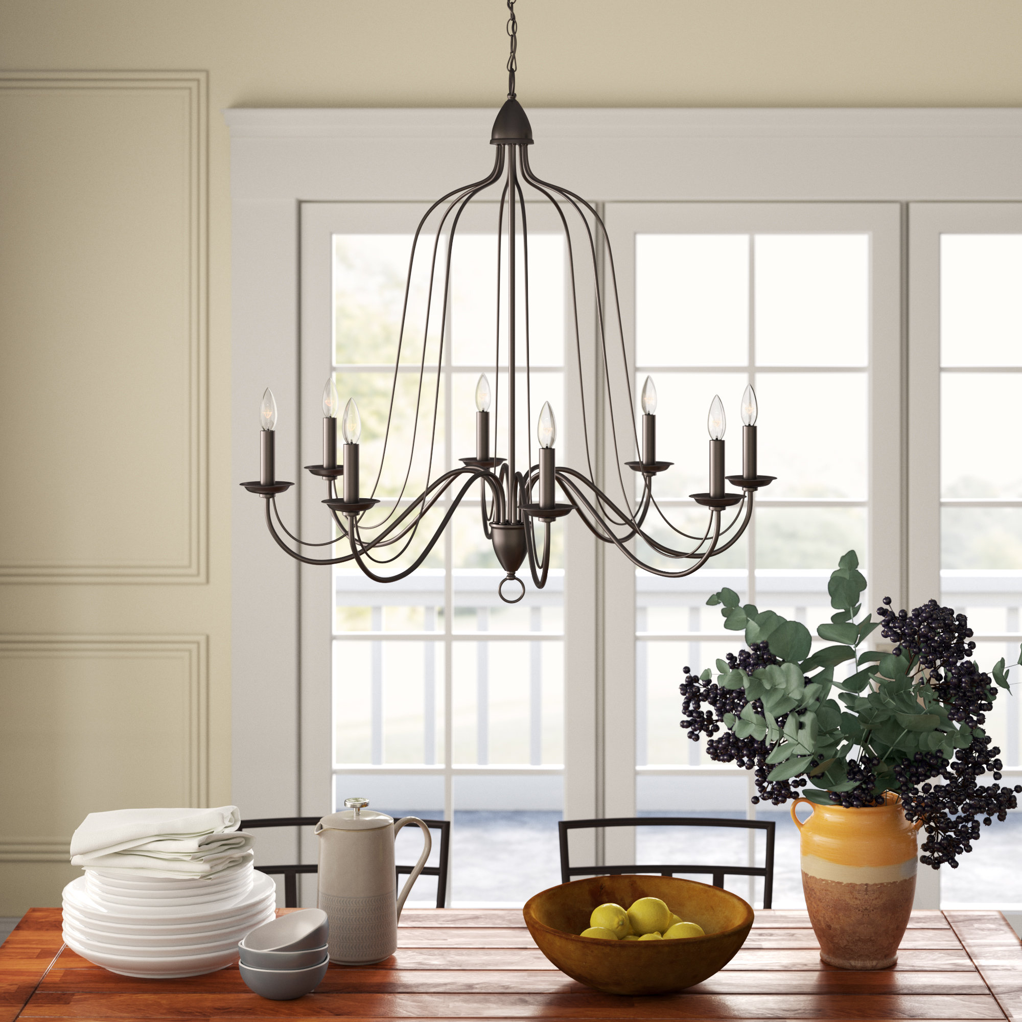 Hatfield 8 Light Candle Style Chandelier In Preferred Hydetown 1 Light Single Geometric Pendants (View 8 of 25)