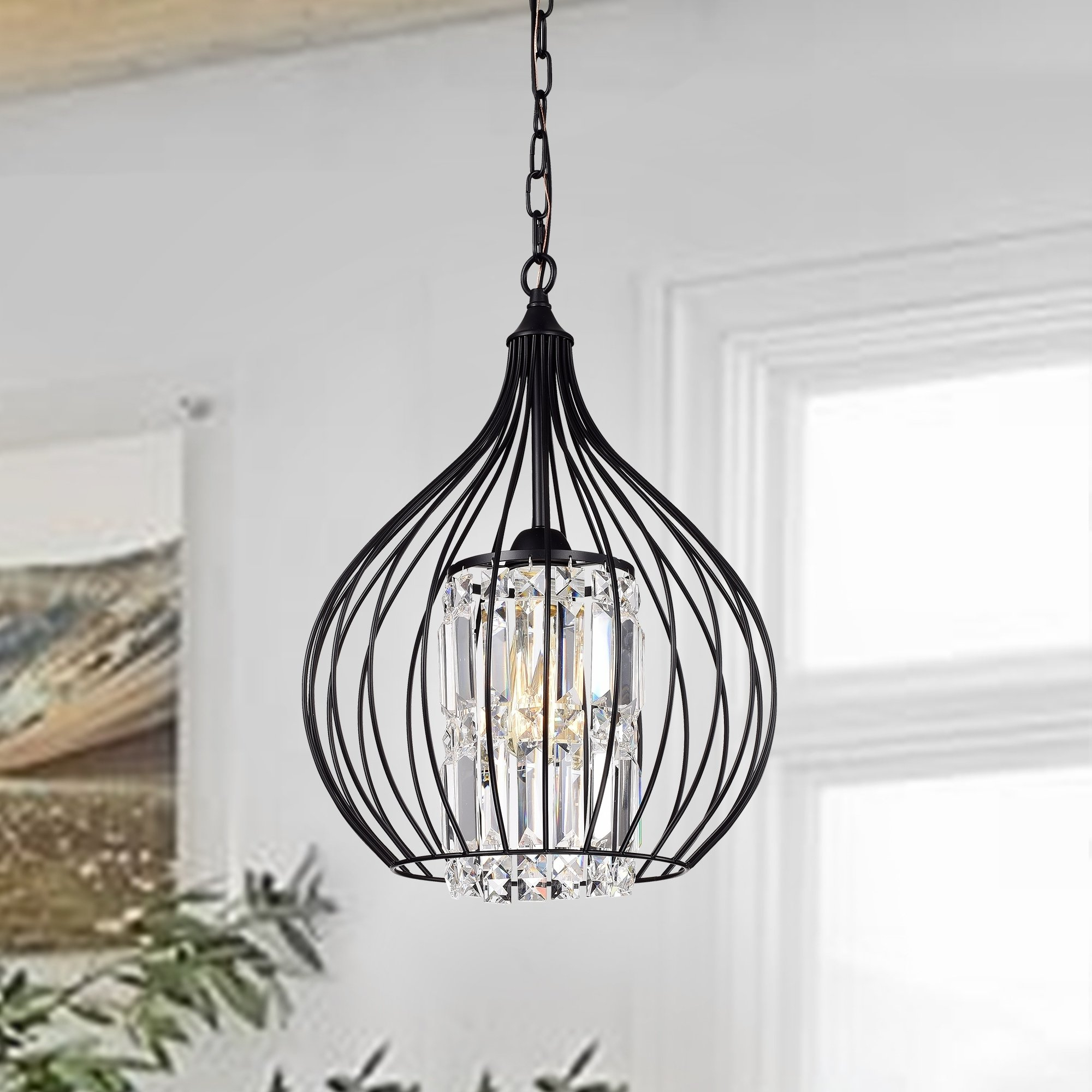 Helina 1-Light Pendants in Most Recent Johanne Matte Black 1-Light Pendant With Crystal Shade In