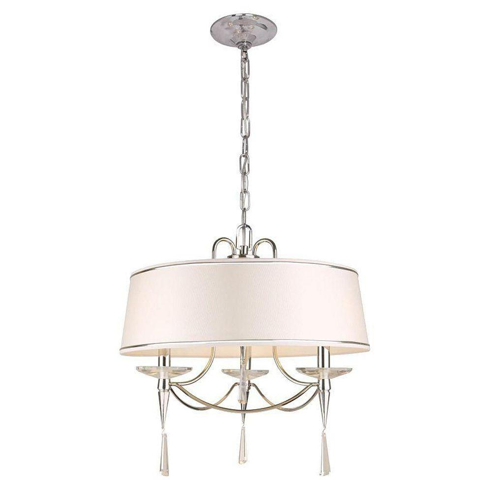 Helina 1-Light Pendants in Recent Hampton Bay Halina Collection 3-Light Chrome Drum Pendant