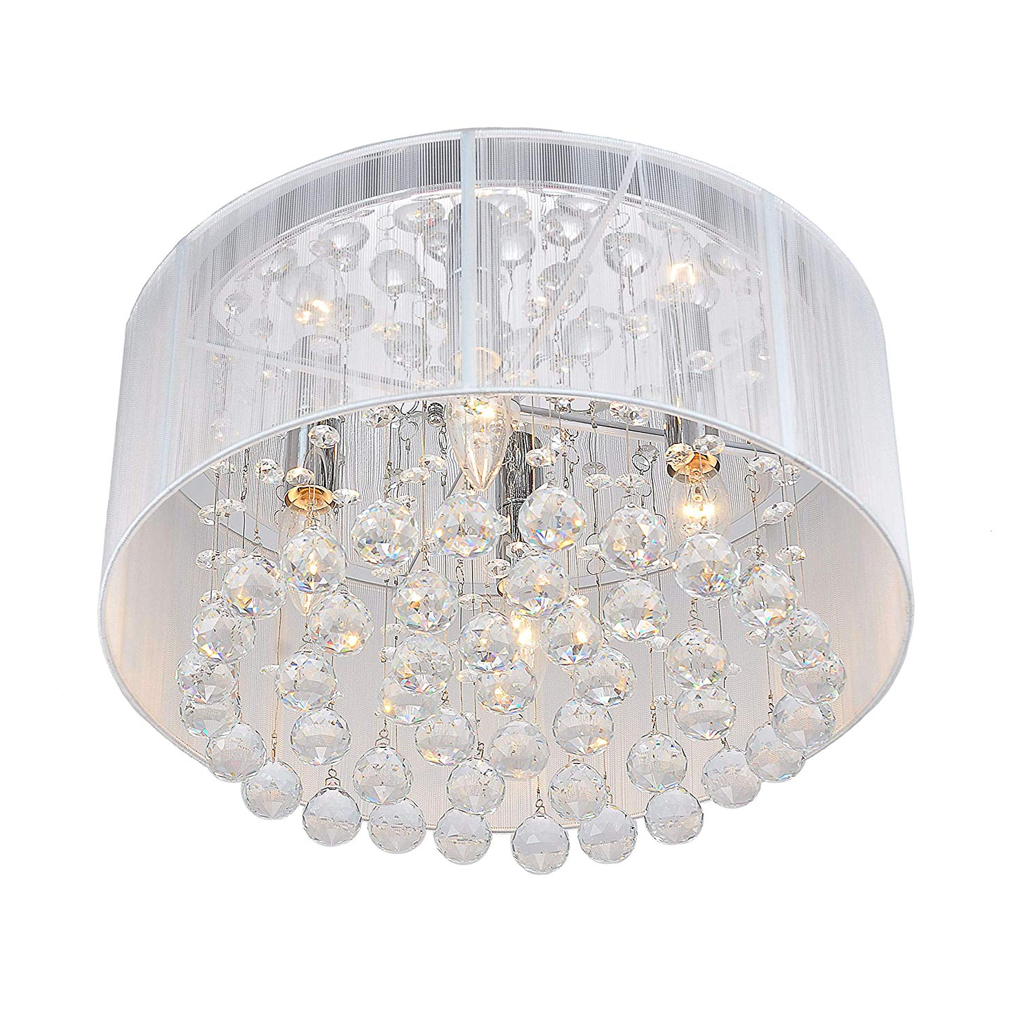 Helina 1 Light Pendants Within Widely Used Flushmount 4 Light Chrome And White Crystal Chandelier (View 18 of 25)