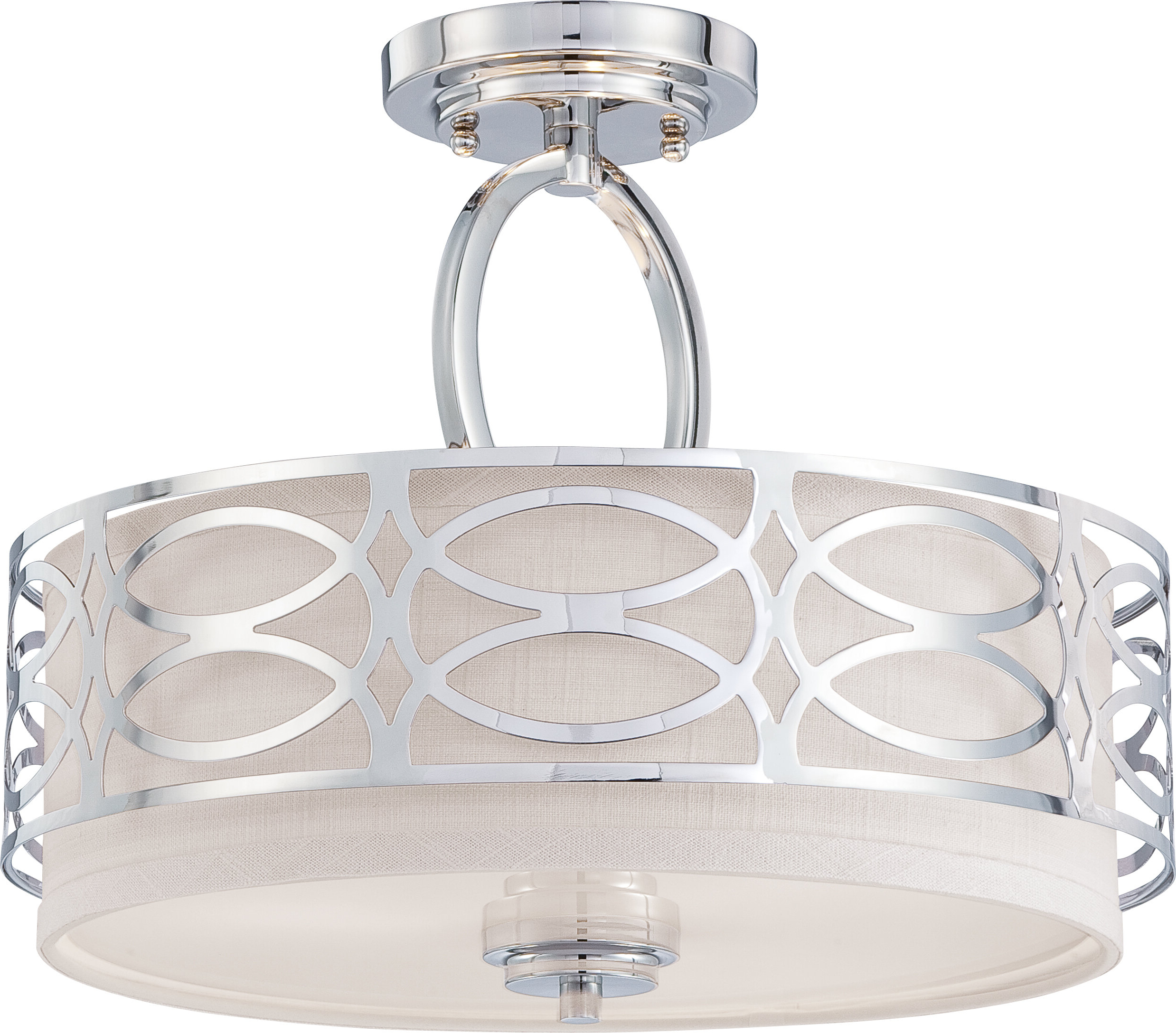 Helina 3 Light Semi Flush Mount Pertaining To Most Recent Dirksen 3 Light Single Cylinder Chandeliers (View 12 of 25)