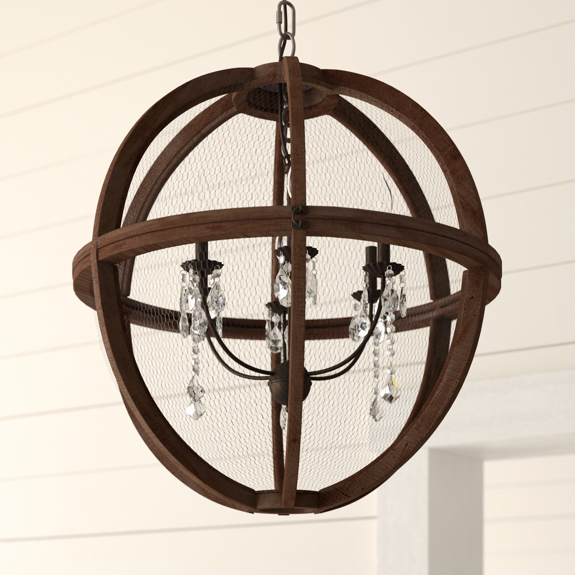 Hendry 4-Light Globe Chandeliers pertaining to Latest Farmhouse & Rustic Globe Chandeliers