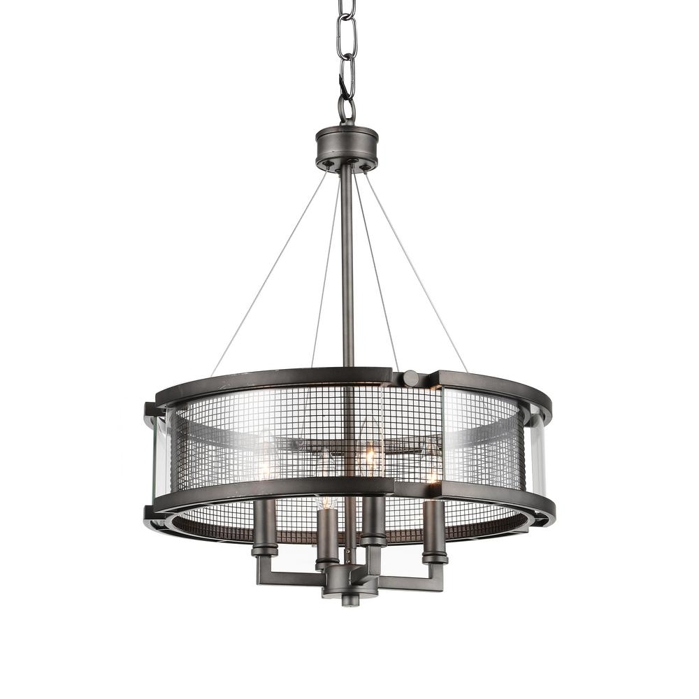 Hermione 1-Light Single Drum Pendants pertaining to Most Up-to-Date Cwi Lighting Monroe 4-Light Black Silver Chandelier