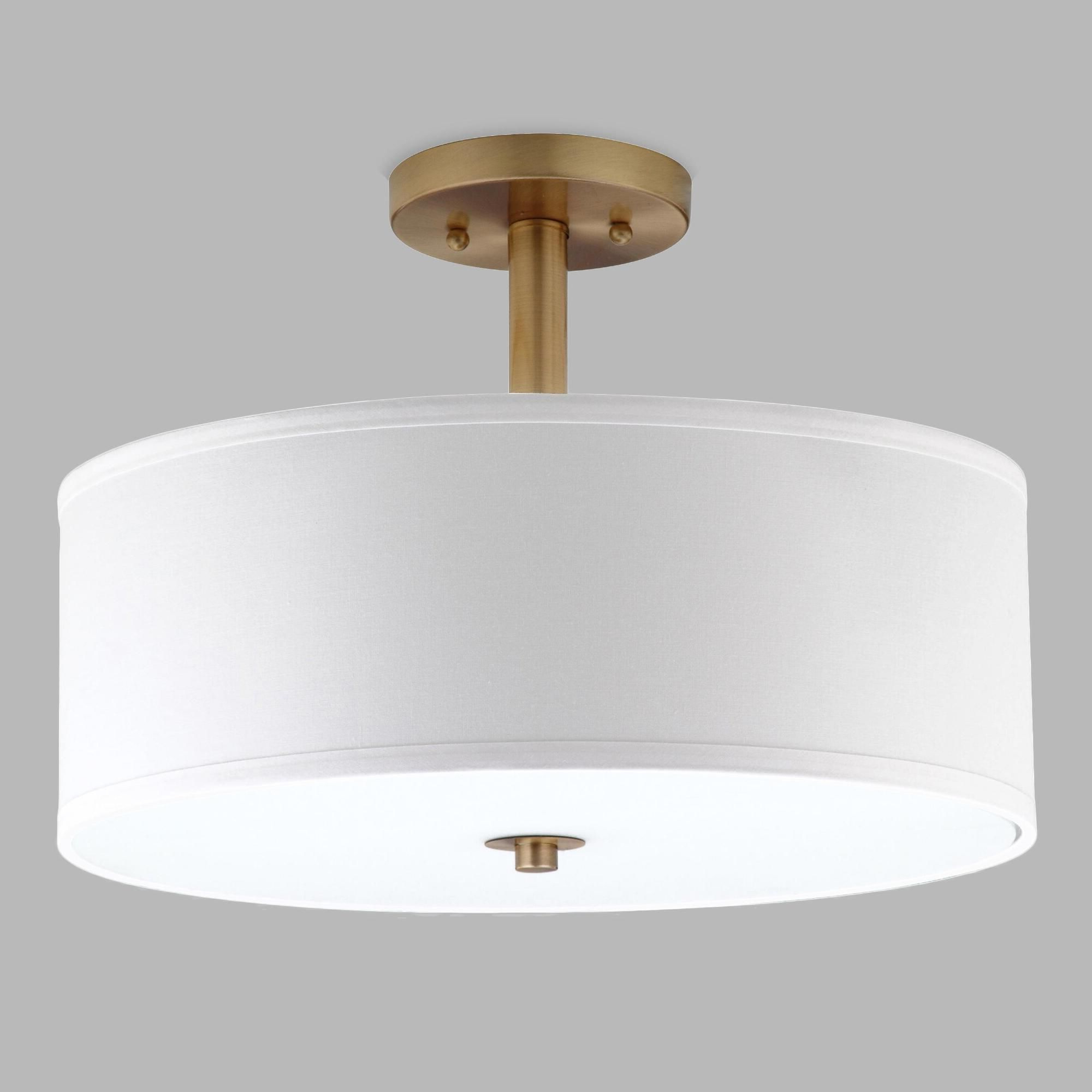 Hermione 1 Light Single Drum Pendants Throughout Famous Gold And White Flush Mount Alysian Ceiling Light: Metallic (Gallery 25 of 25)