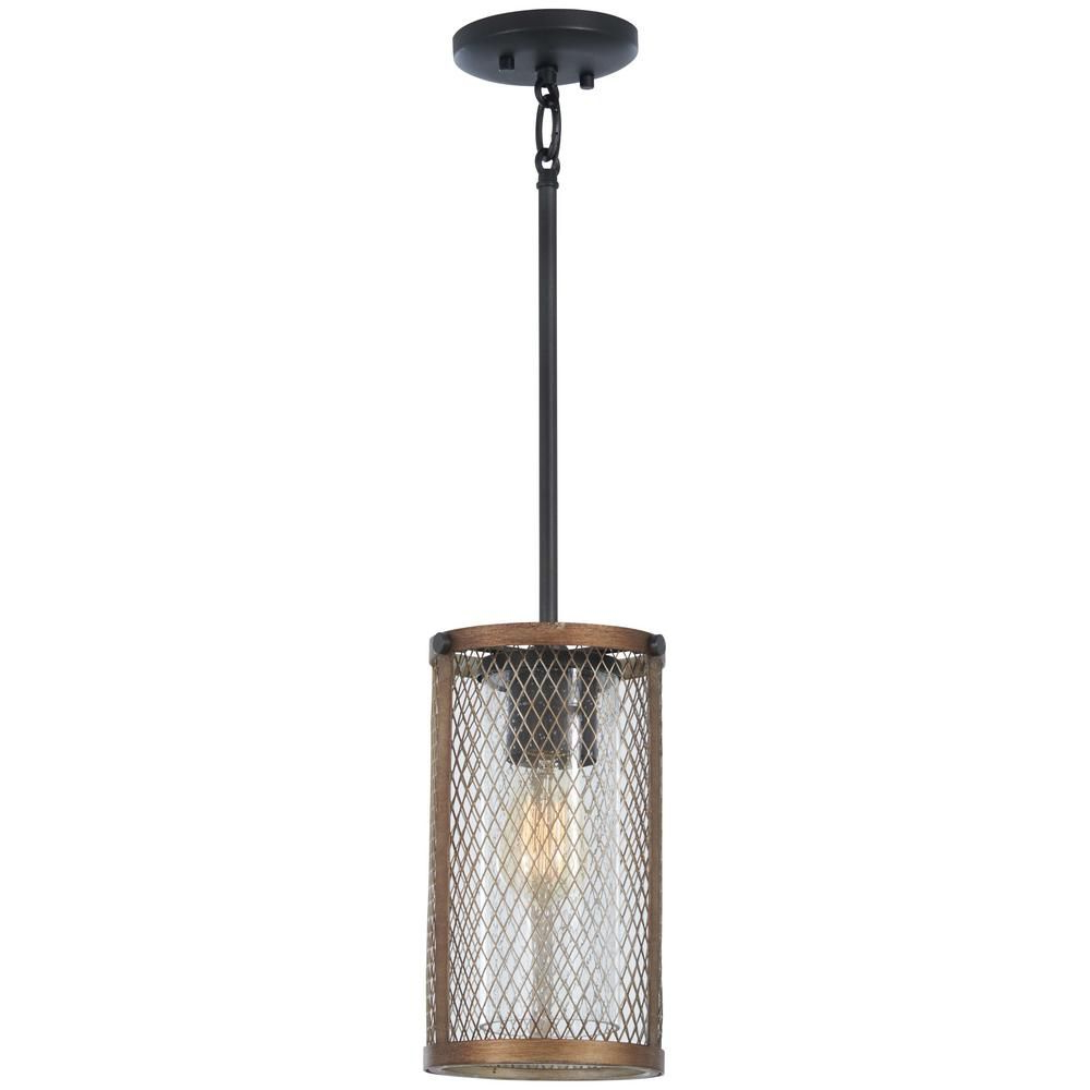 Hermione 1-Light Single Drum Pendants with 2020 Minka Lavery Marsden Commons 1-Light Smoked Iron With Aged