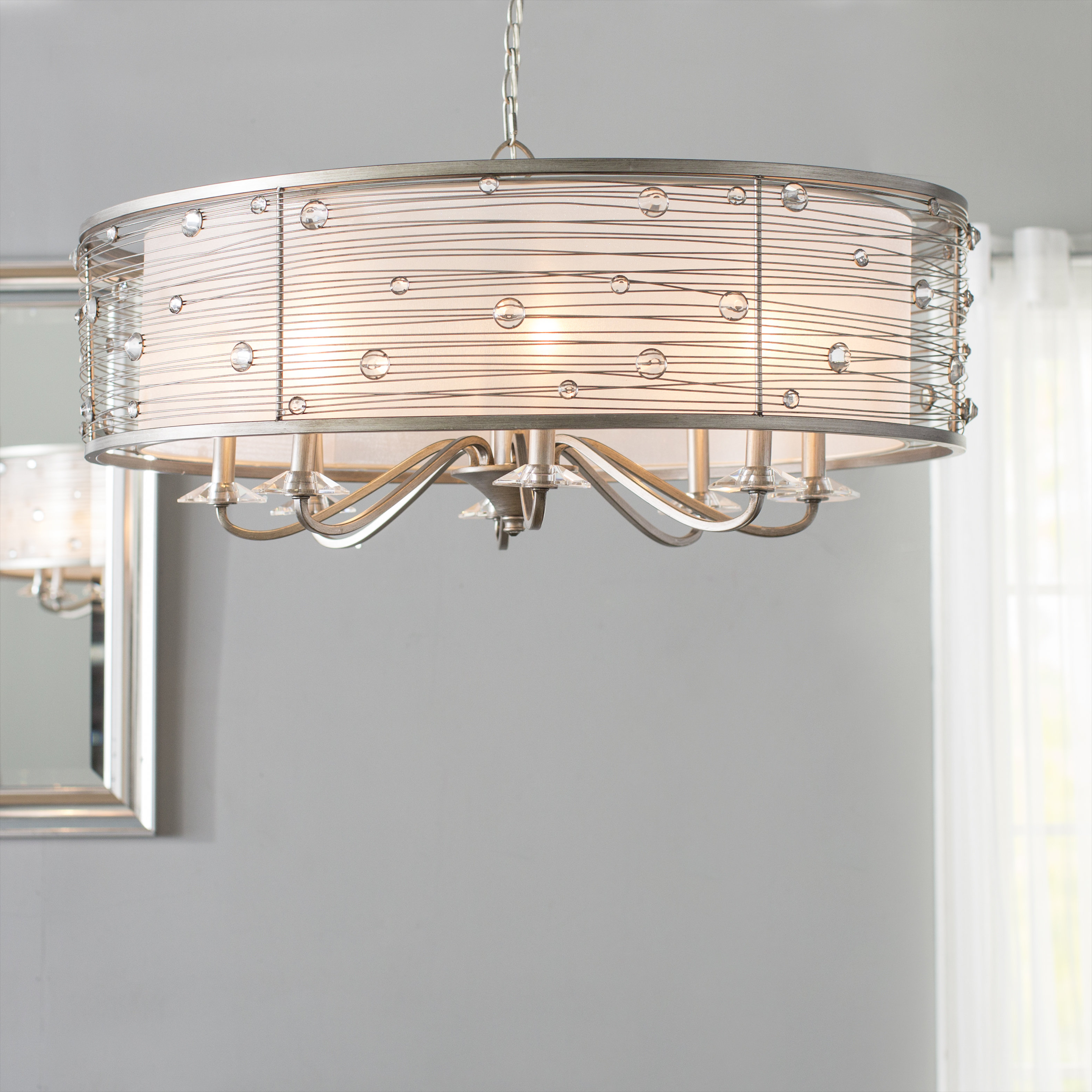 Hermione 1 Light Single Drum Pendants Within Popular Hermione 8 Light Drum Chandelier (Gallery 7 of 25)
