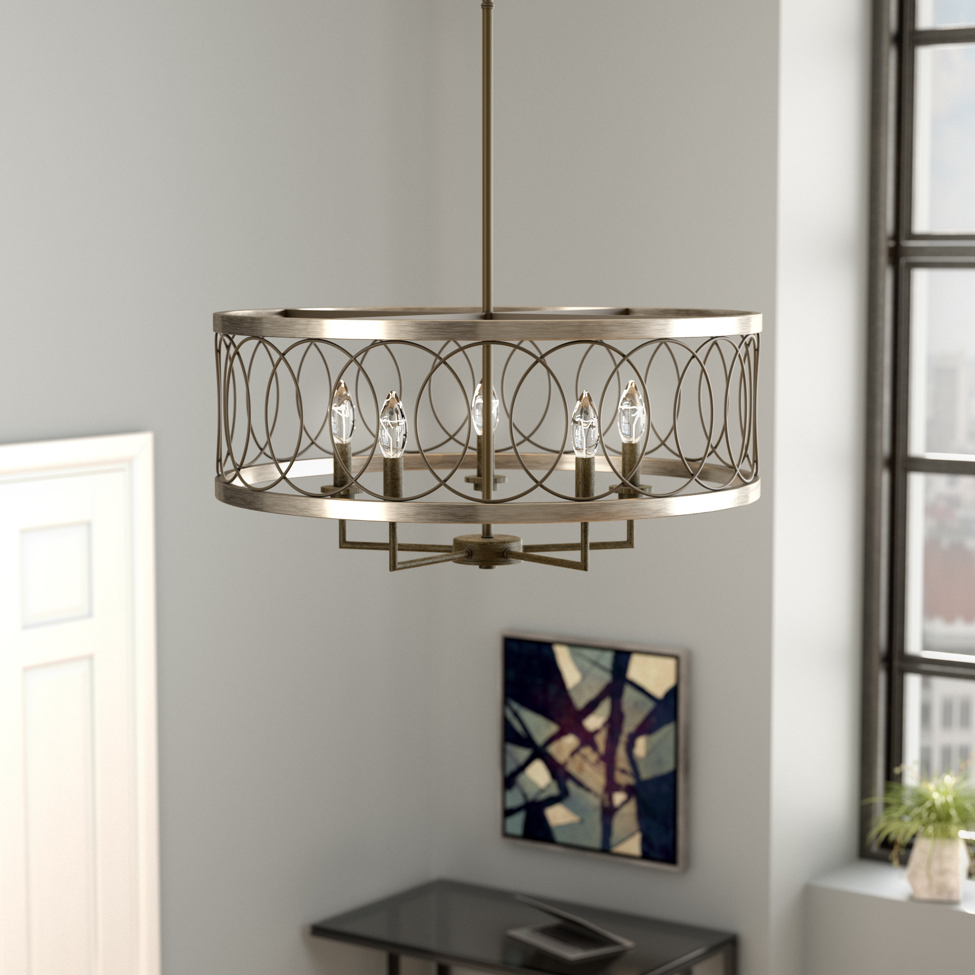 Hermione 5-Light Drum Chandeliers inside Widely used Cliffside 5-Light Drum Chandelier