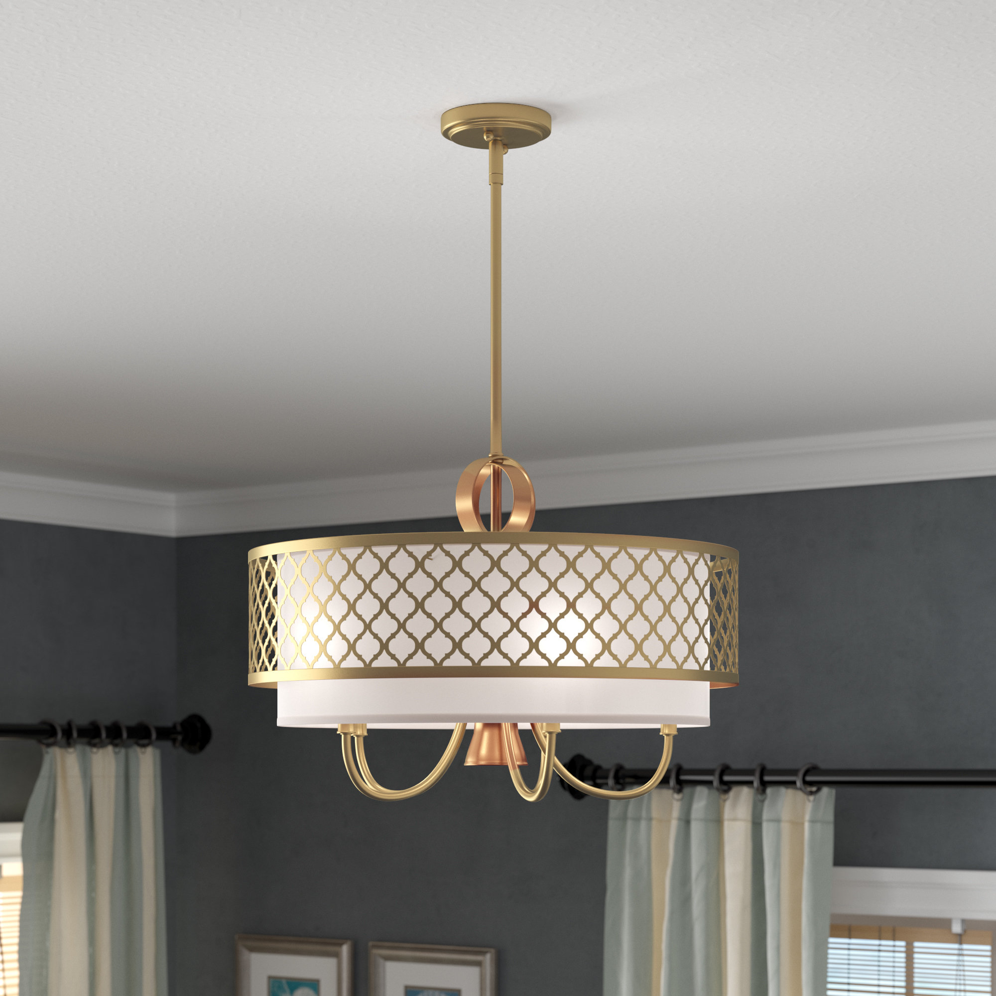 Hermione 5-Light Drum Chandeliers pertaining to Best and Newest Tymvou 5-Light Drum Chandelier