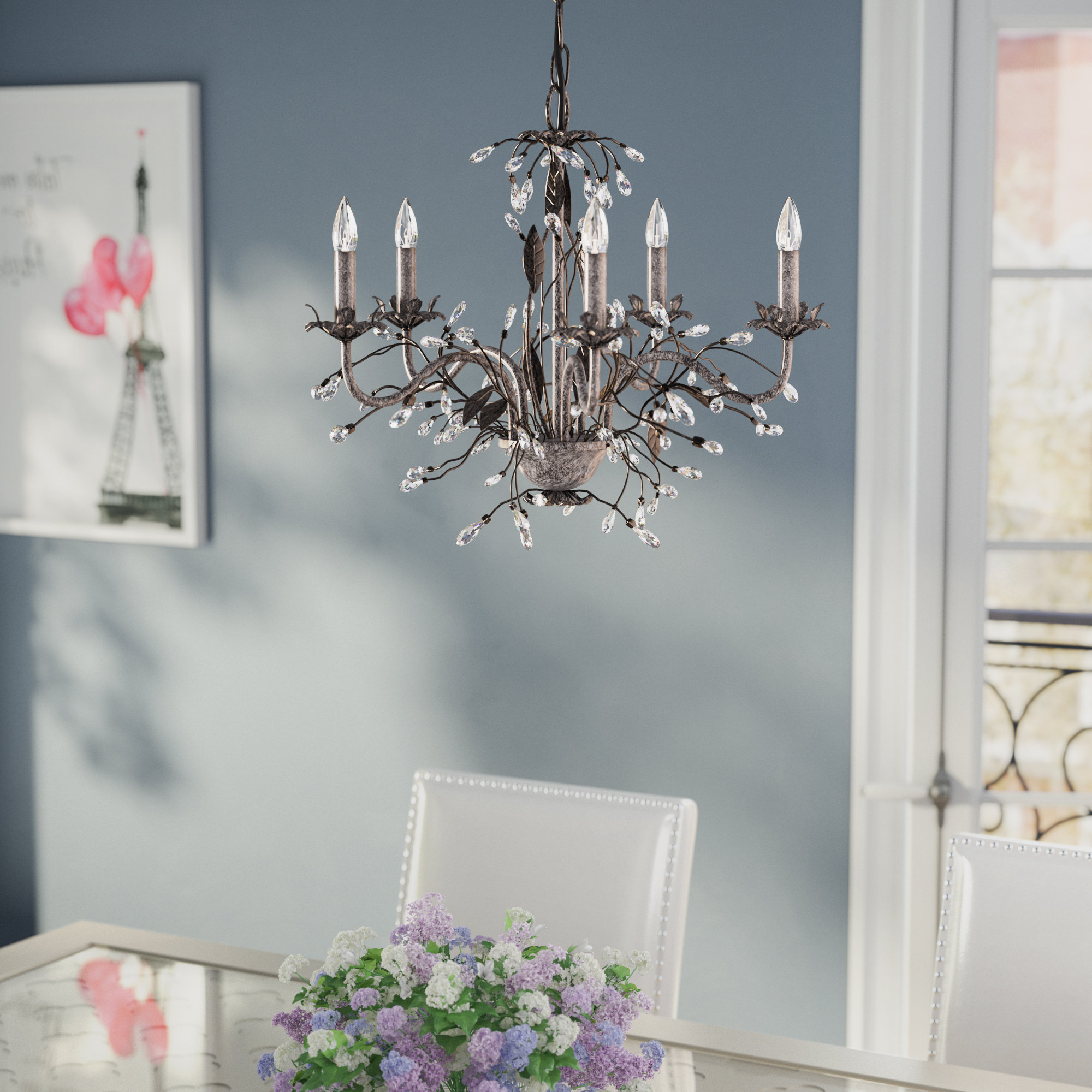 Hesse 5 Light Candle-Style Chandelier pertaining to Well-liked Blanchette 5-Light Candle Style Chandeliers
