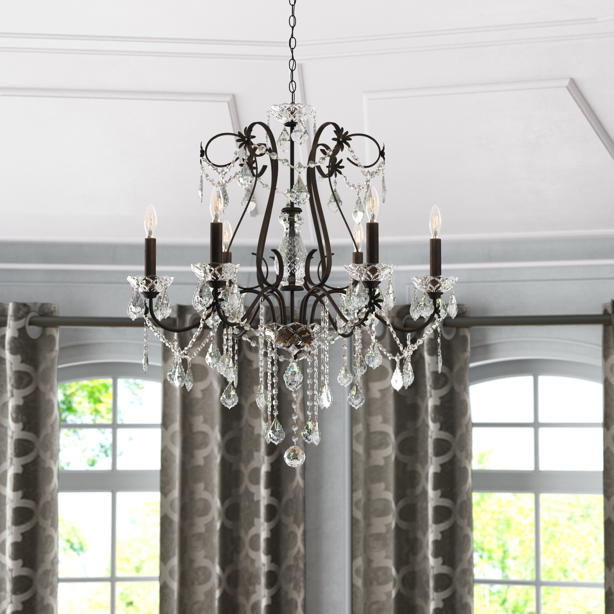 Hesse 5 Light Candle-Style Chandeliers regarding Well-known Thao 6-Light Candle Style Chandelier