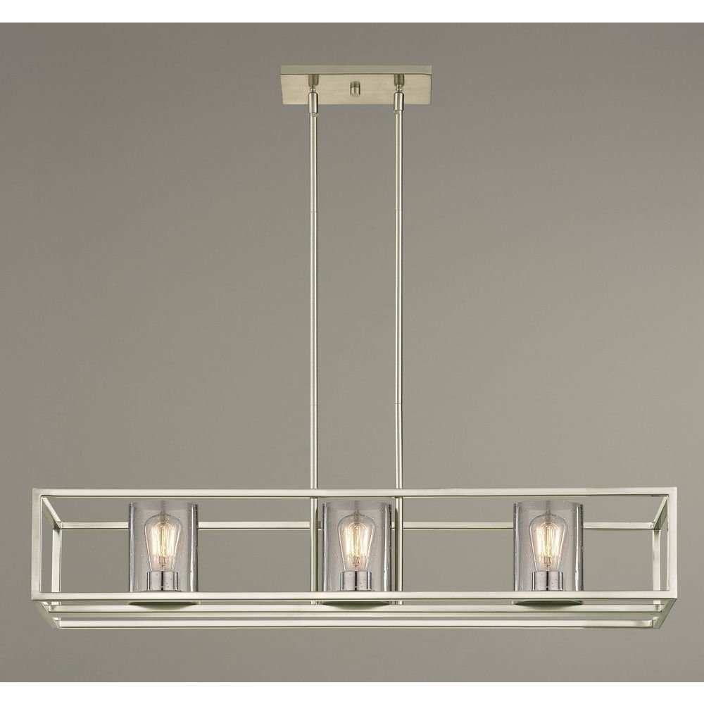 Hewitt 4 Light Square Chandeliers Regarding Widely Used Seeded Glass Linear Chandelier Satin Nickel 3 Lt (View 23 of 25)