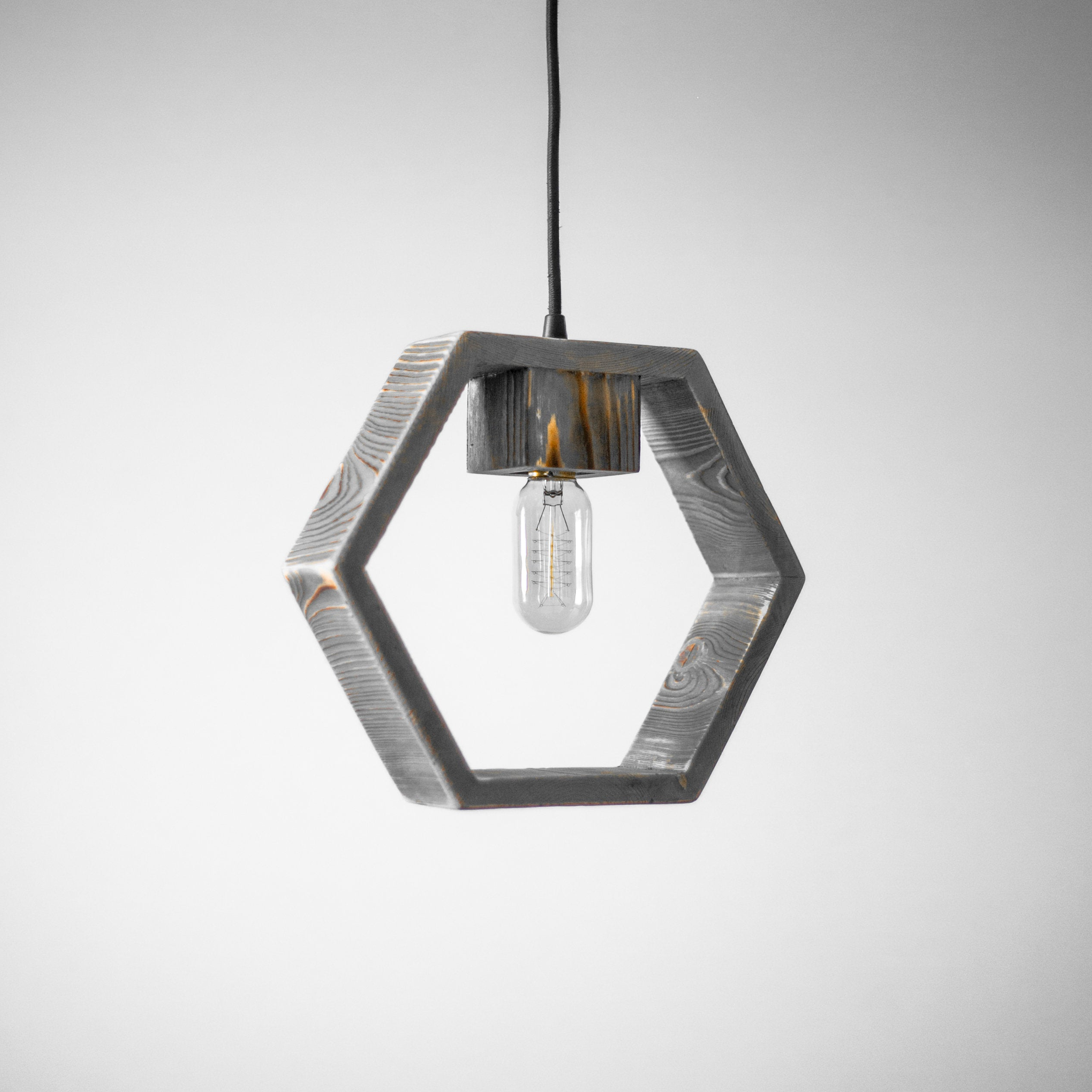 Hexagon Wood Pendant Light / Geometric Pendant Light / Modern Lamp /  Minimalistic Style / Industrial / Loft / Hanging Light / Chandelier In Widely Used Rossi Industrial Vintage 1 Light Geometric Pendants (View 3 of 25)