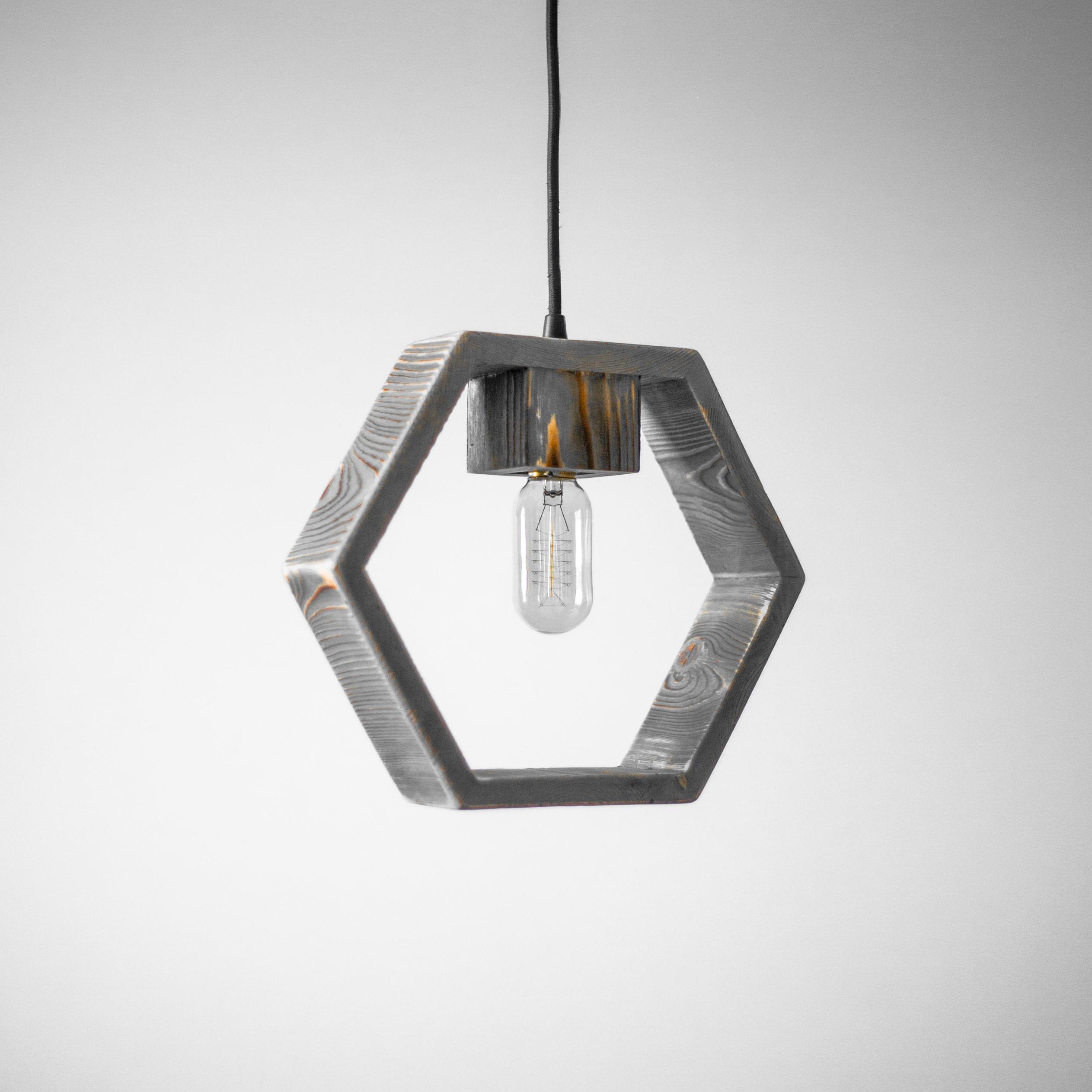 Hexagon Wood Pendant Light / Geometric Pendant Light / Modern Lamp /  Minimalistic Style / Industrial / Loft / Hanging Light / Chandelier In Widely Used Rossi Industrial Vintage 1 Light Geometric Pendants (View 7 of 25)