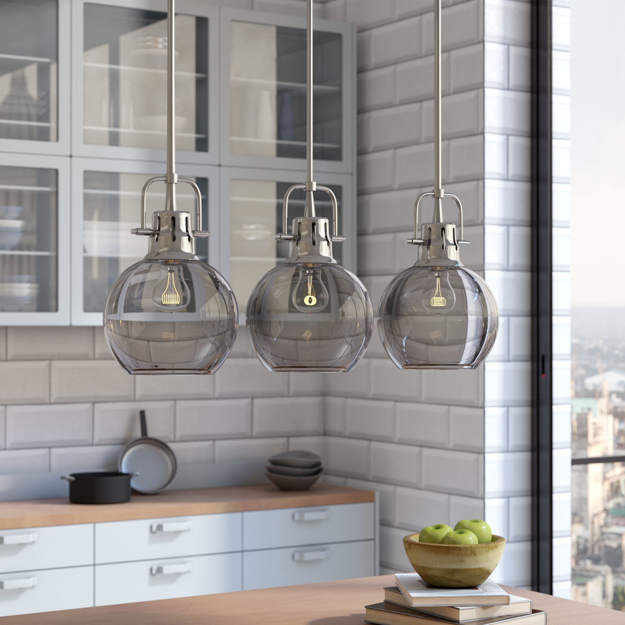 Hinerman 5 Light Kitchen Island Pendants in Widely used Gold Kitchen Lighting