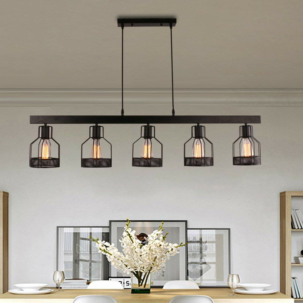 Hinerman 5 Light Kitchen Island Pendants intended for Fashionable Price 5-Light Kitchen Island Pendant