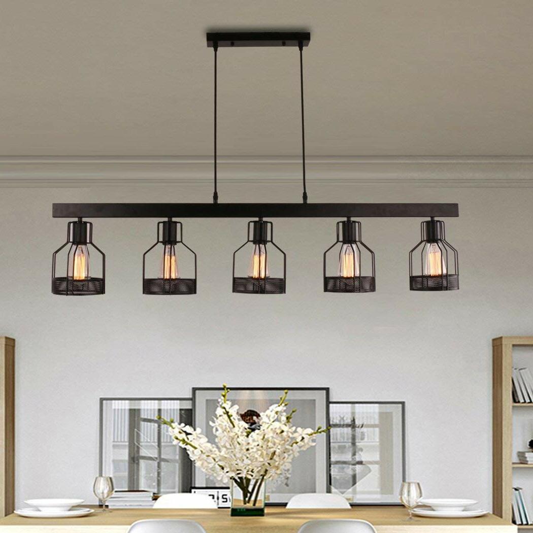 Hinerman 5 Light Kitchen Island Pendants Intended For Fashionable Price 5 Light Kitchen Island Pendant (Gallery 7 of 25)