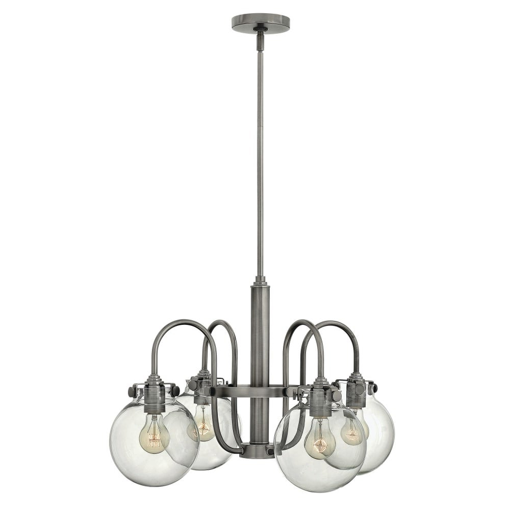 Hinkley Lighting 3044 Congress 4 Light 1 Tier Chandelier With Clear Globe  Shade – N/a In Fashionable Hewitt 4 Light Square Chandeliers (View 22 of 25)
