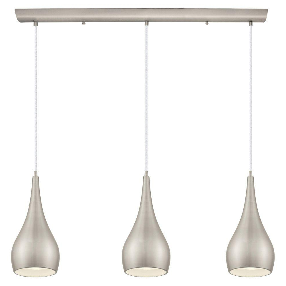 Home Decorators Collection 3 Light Matte Nickel Multi Within Most Recent Neal 5 Light Kitchen Island Teardrop Pendants (View 13 of 25)