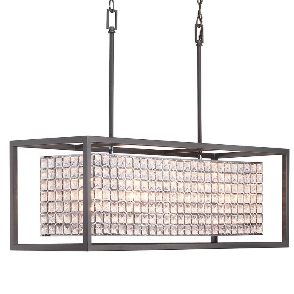 Home Decorators Collection Shimmer Collection 4 Light Graphite Island  Chandelier With Clear Crystal Shade Intended For Famous Donna 4 Light Globe Chandeliers (View 15 of 25)