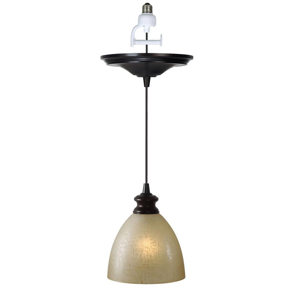 Houon 1 Light Cone Bell Pendants Pertaining To Popular Worth Home Products Instant Pendant 1 Light Recessed Light Conversion Kit  Brushed Bronze Linen Glass Shade (View 17 of 25)