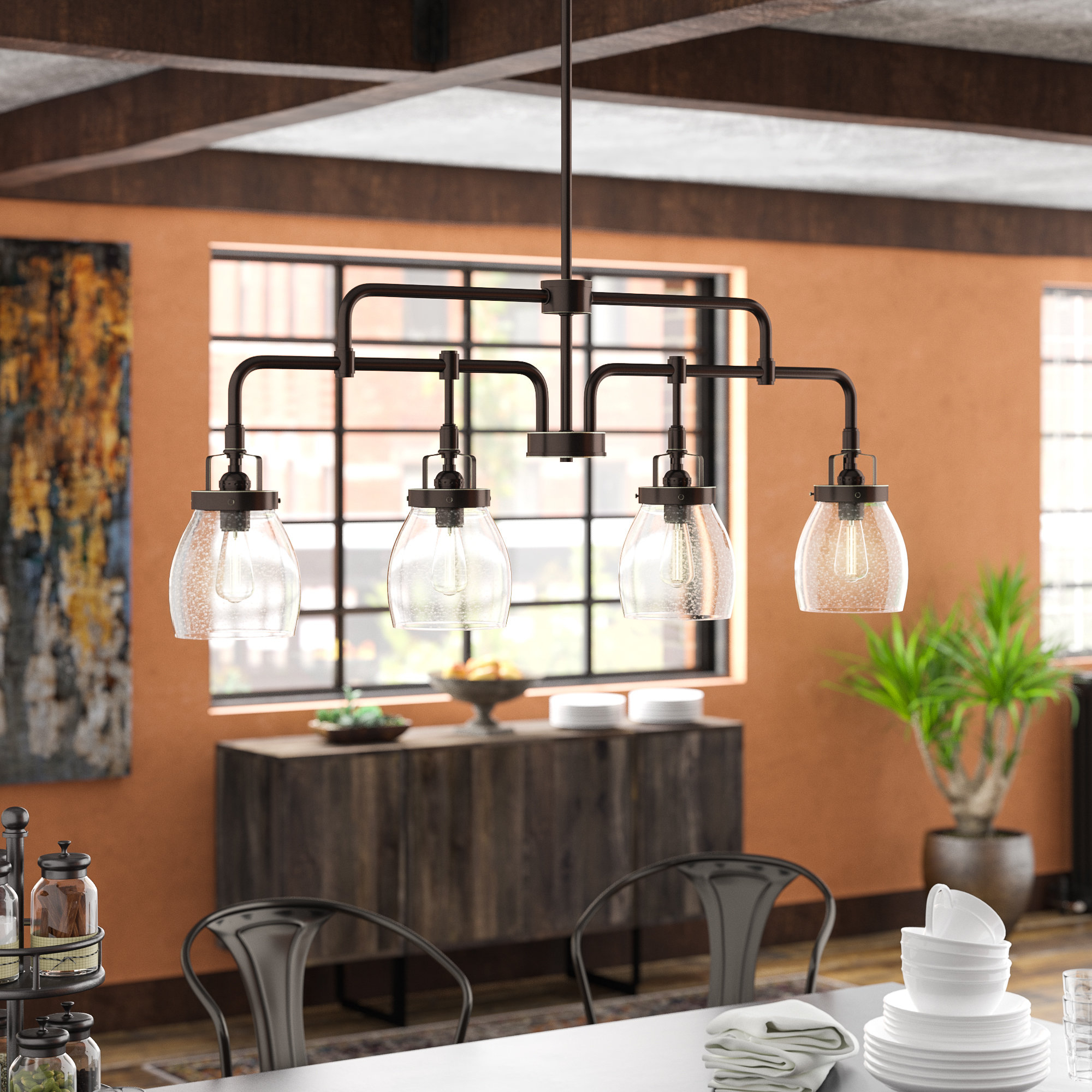 Houon 4-Light Kitchen Island Pendant regarding Most Recently Released Cinchring 4-Light Kitchen Island Linear Pendants