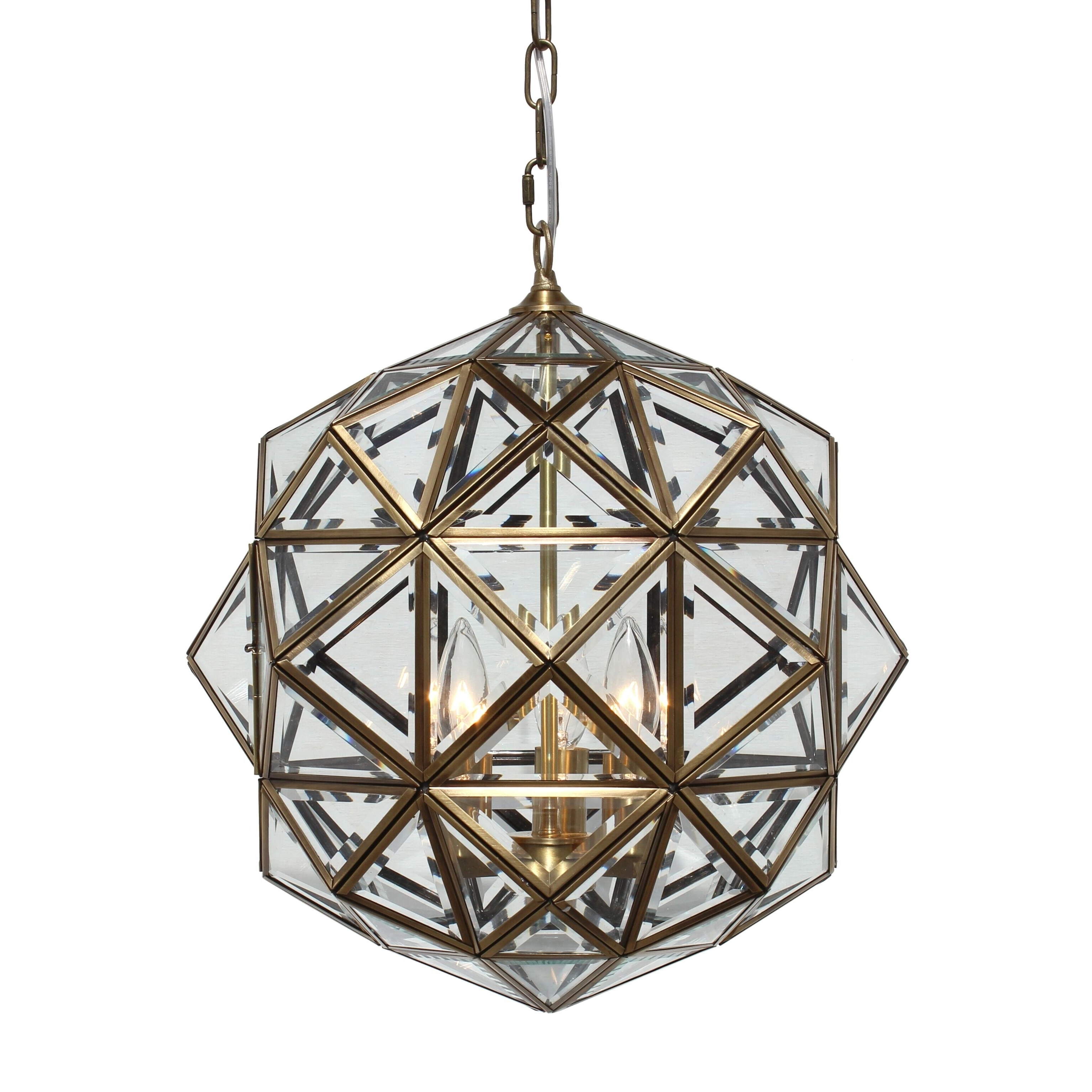 Hydetown 1 Light Single Geometric Pendants Throughout Recent Worlds Away Valencia Round Clear Glass Faceted Pendant (View 12 of 25)