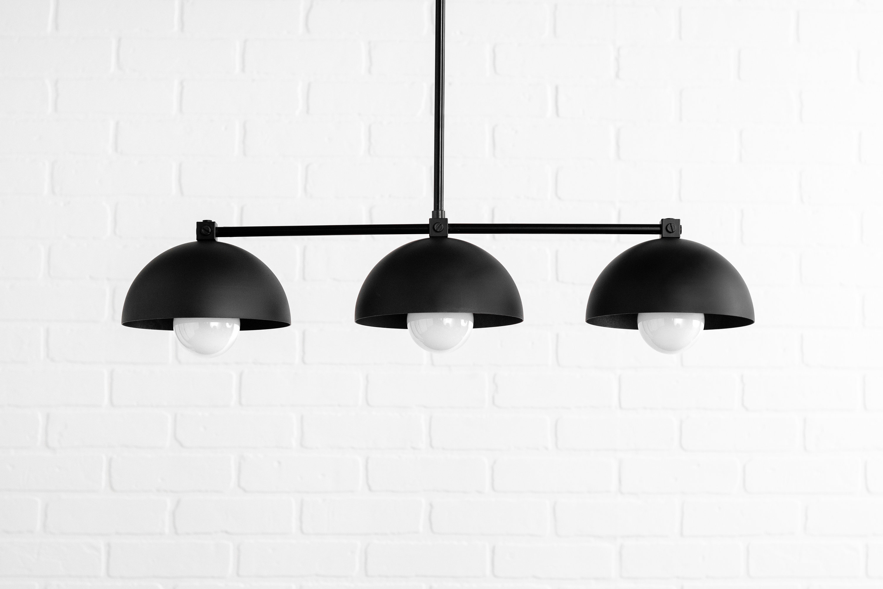 Industrial Black Dome – Three Shade Pendant Light – Kitchen Lighting – Long  Hanging Light – Island Lighting – Chandelier Lighting With 2019 Martinique 3 Light Kitchen Island Dome Pendants (View 19 of 25)