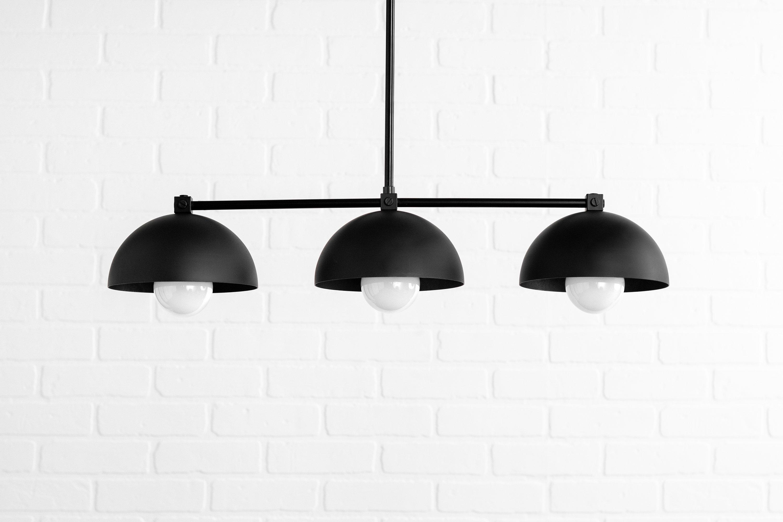 Industrial Black Dome – Three Shade Pendant Light – Kitchen Lighting – Long  Hanging Light – Island Lighting – Chandelier Lighting With 2019 Martinique 3 Light Kitchen Island Dome Pendants (View 7 of 25)