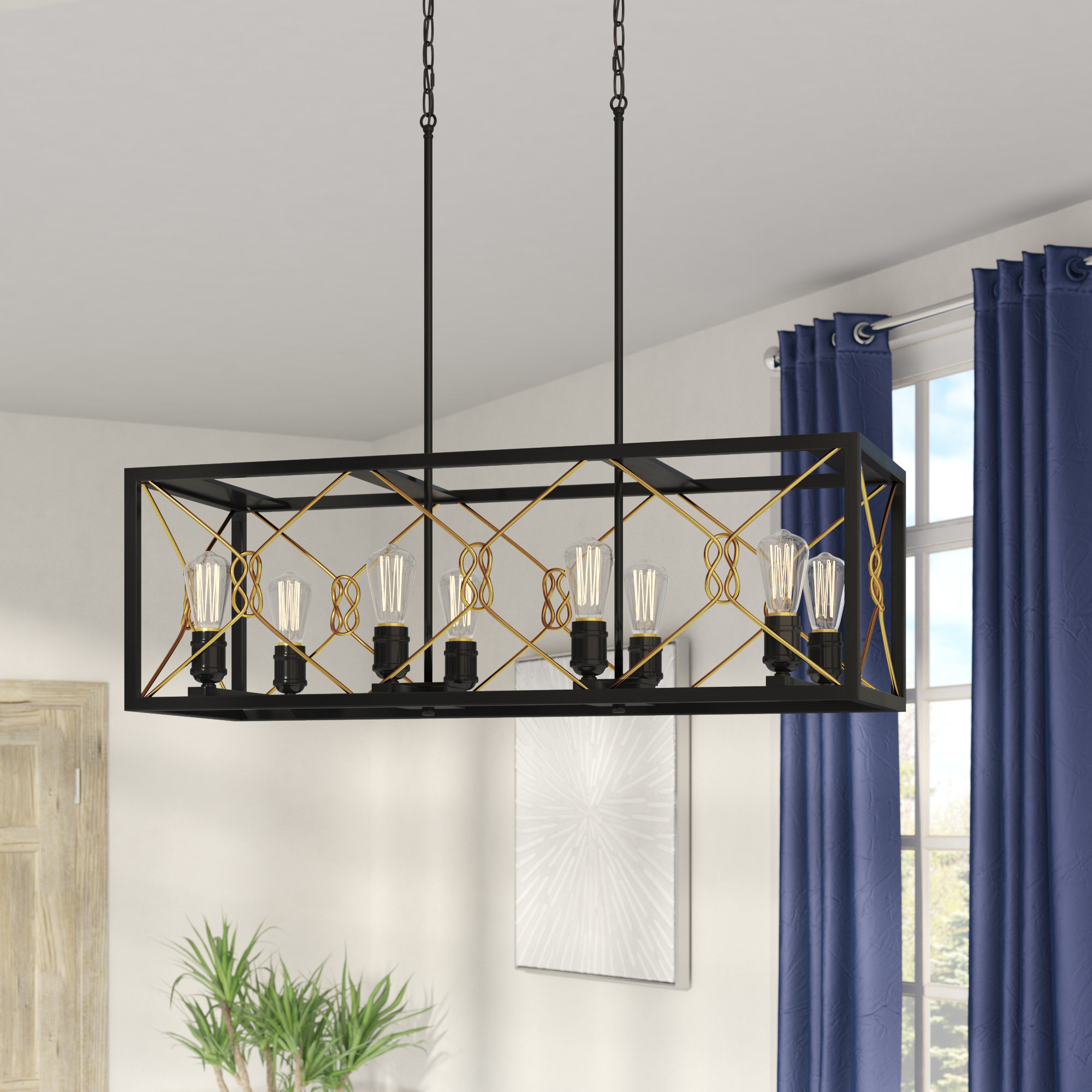 Industrial Square & Rectangular Chandeliers You'll Love In For Most Current Hewitt 4 Light Square Chandeliers (View 5 of 25)