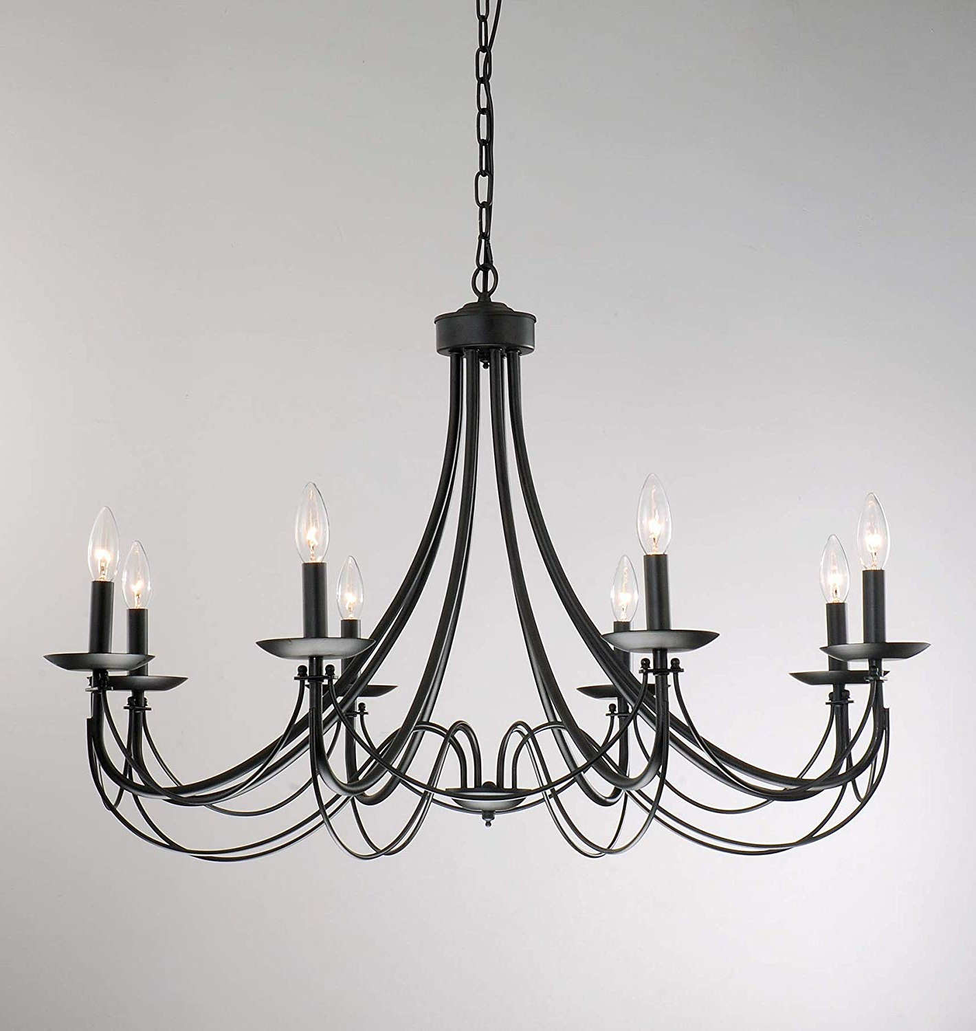 Iron 8-Light Black Chandelier inside Fashionable Hamza 6-Light Candle Style Chandeliers