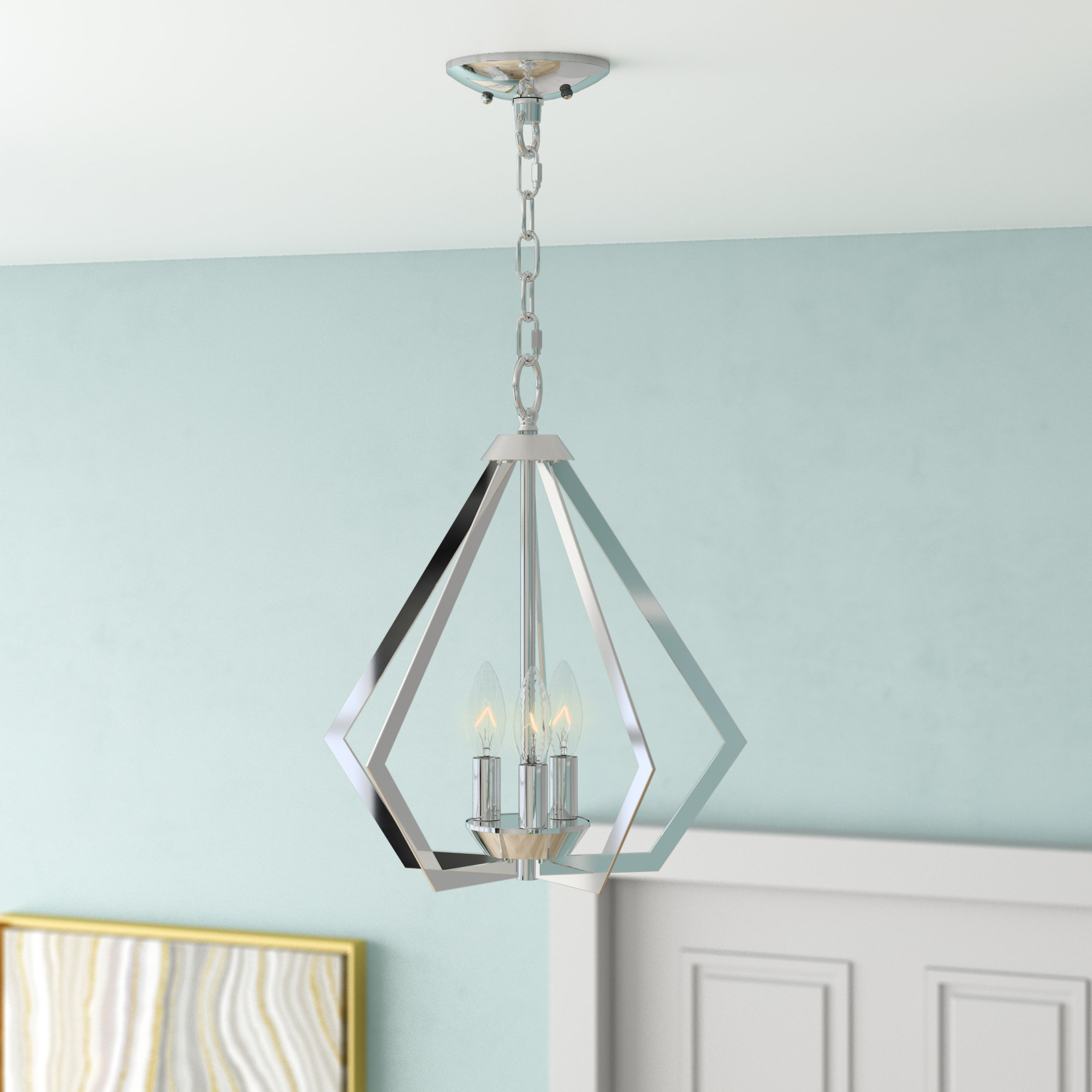 Isoline 2 Light Lantern Geometric Pendants Regarding Most Popular Willa Arlo Interiors Borasisi 3 Light Lantern Geometric (View 16 of 25)