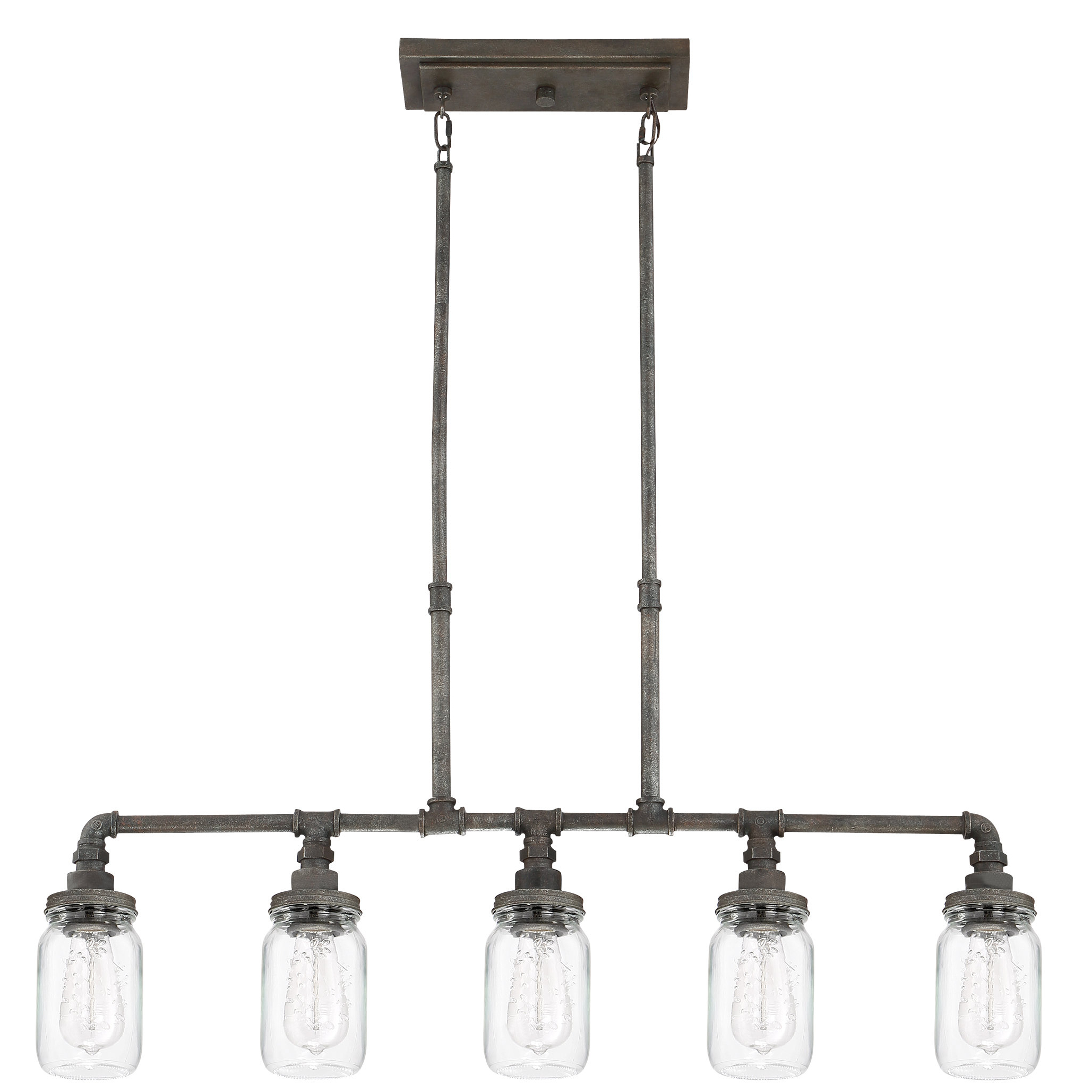Jefferson 4 Light Kitchen Island Linear Pendants With Famous Brys Rustic Black 5 Light Kitchen Island Pendant (View 10 of 25)
