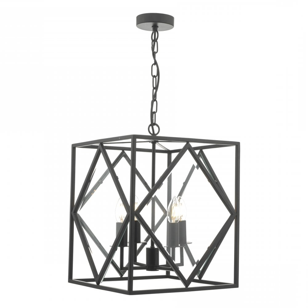 Jep0422 Jepsen 4 Light Ceiling Lantern In Black Finish With Bevelled Glass  Panels Intended For Well Known 4 Light Lantern Square / Rectangle Pendants (View 13 of 25)