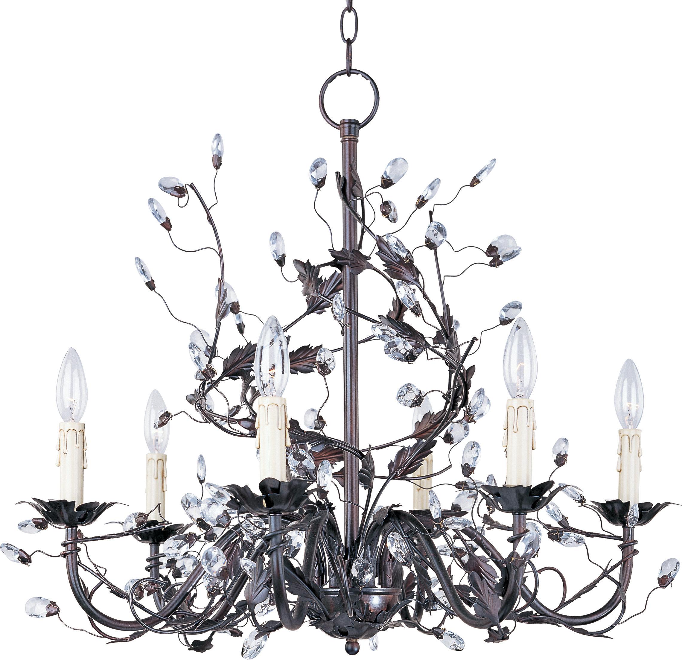 Kaiya 6 Light Candle Style Chandelier Regarding Widely Used Hesse 5 Light Candle Style Chandeliers (View 10 of 25)