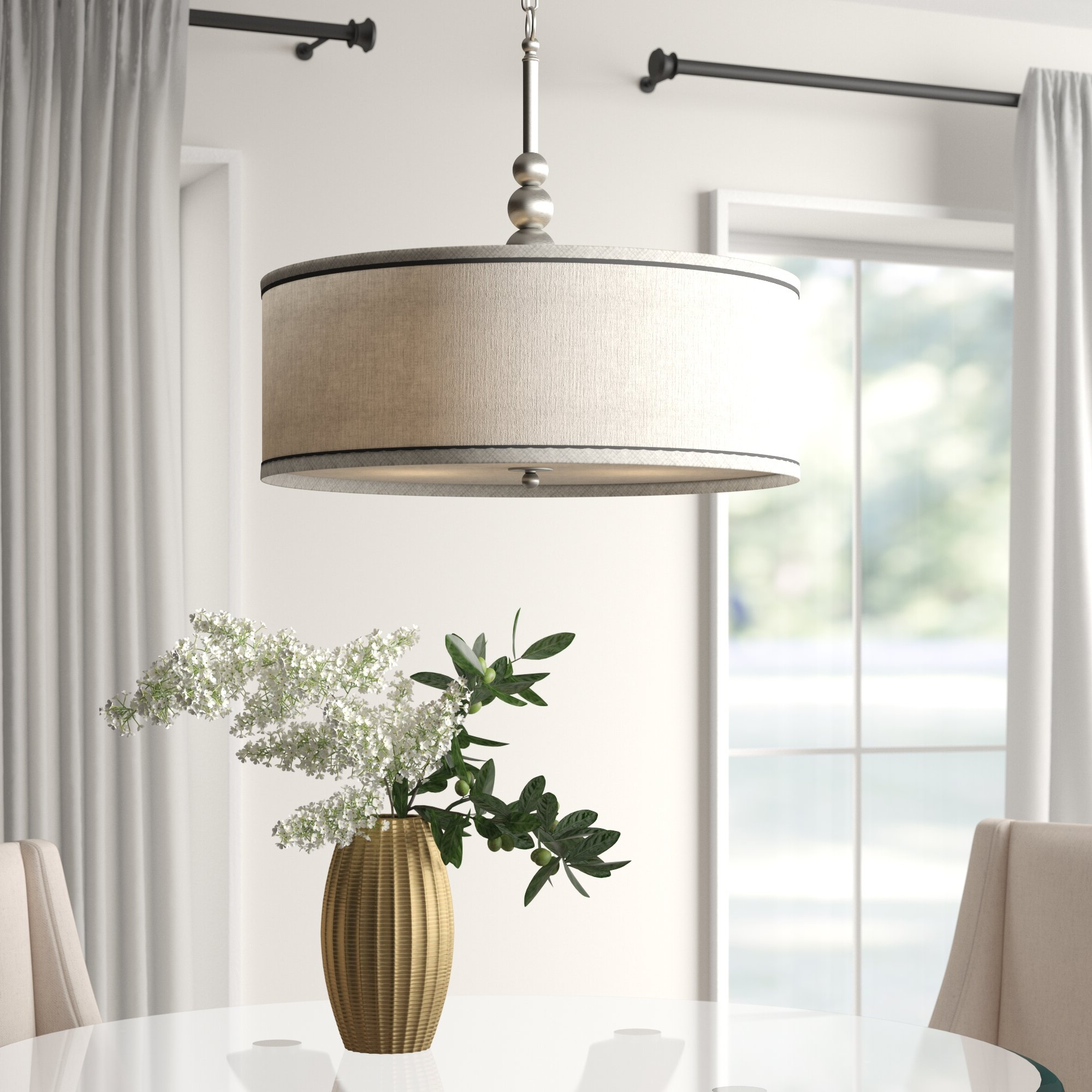 Kasey 3-Light Single Drum Pendants pertaining to Trendy Annuziata 3-Light Unique/statement Chandelier
