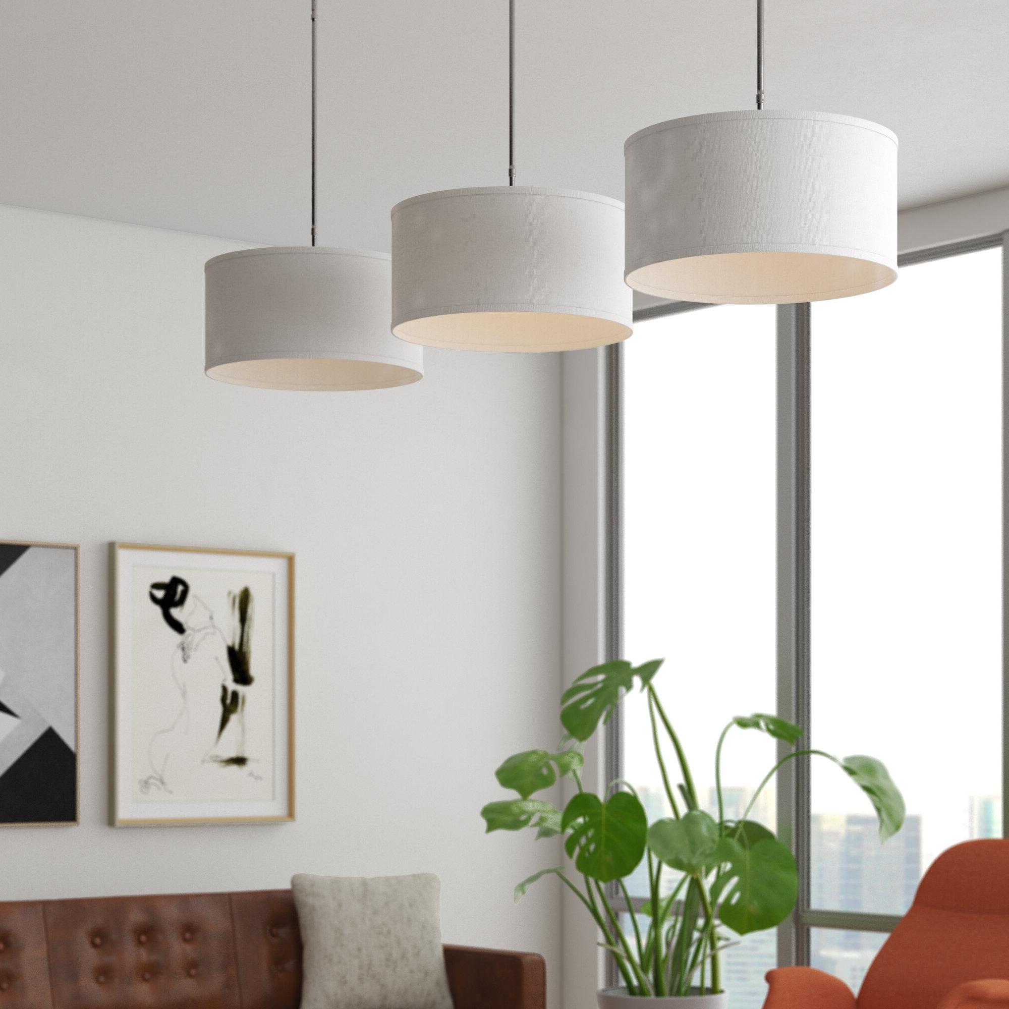 Kasey 3-Light Single Drum Pendants regarding Well known Kasey 3-Light Kitchen Island Pendant