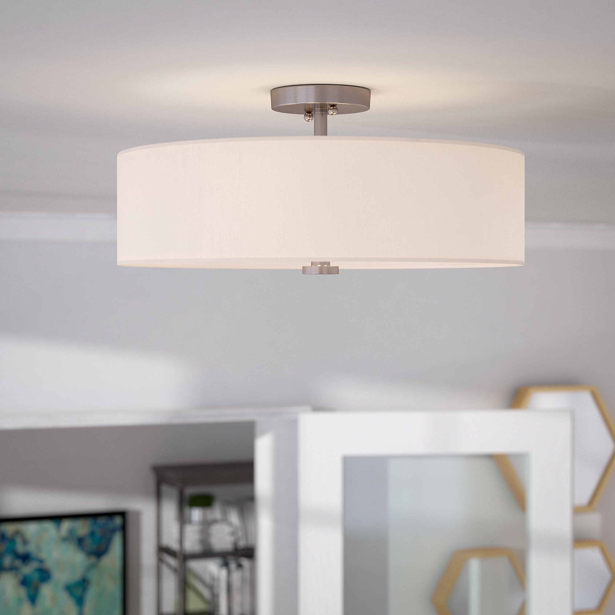 Kasey 3 Light Single Drum Pendants Throughout Most Recent Burgoon 4 Light Semi Flush Mount (View 15 of 25)