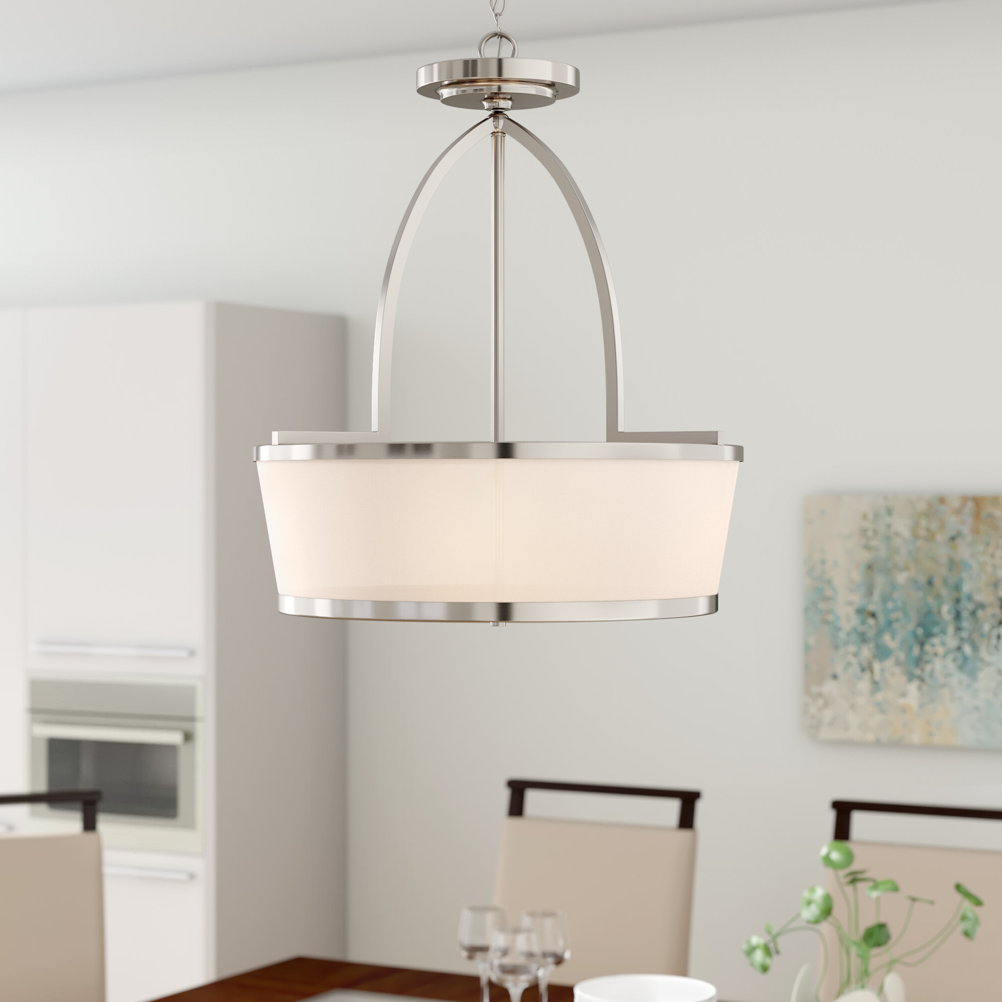 Kasey 3-Light Single Drum Pendants with Most Current Camacho 3-Light Single Drum Pendant