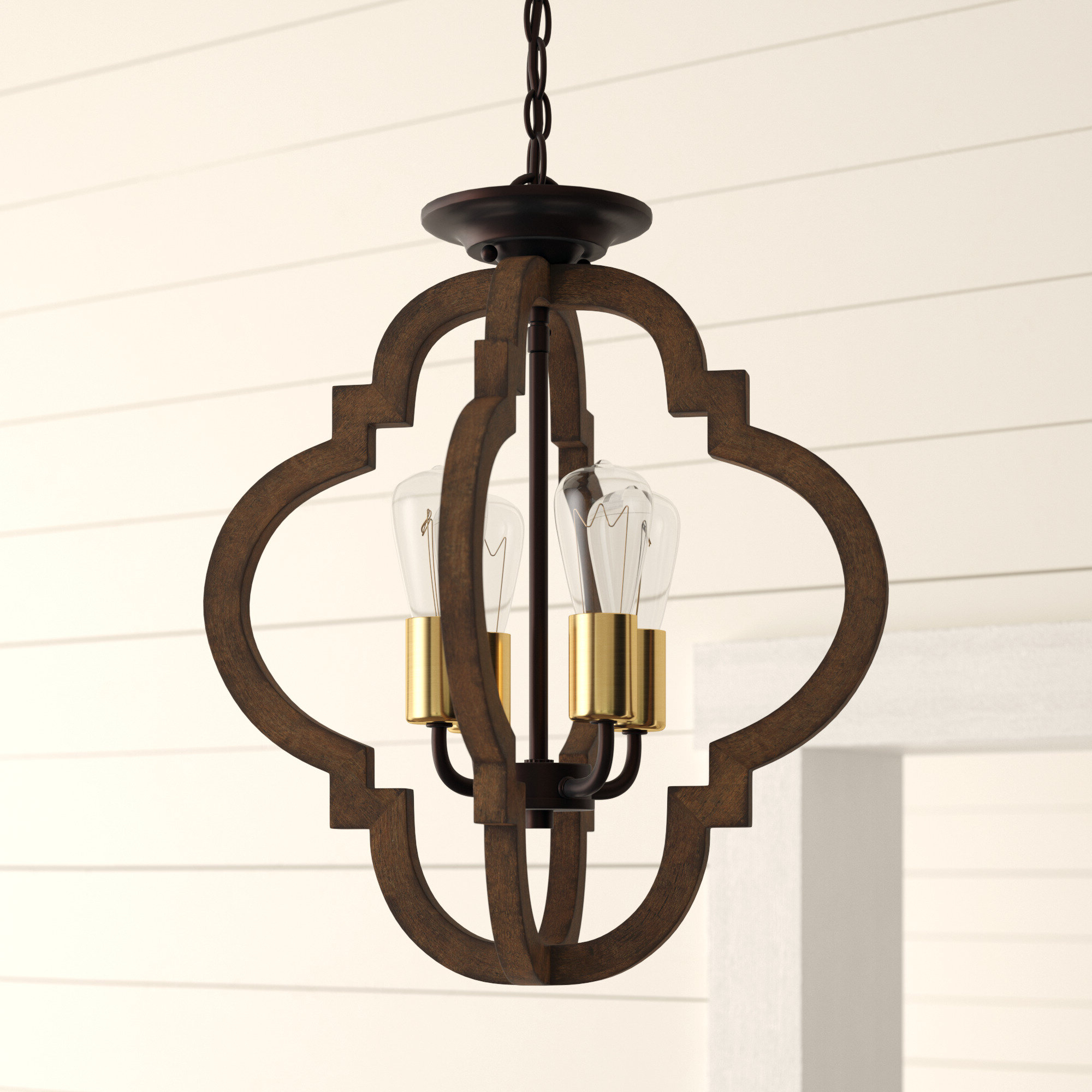 Kaycee 4 Light Geometric Chandelier For Recent Hendry 4 Light Globe Chandeliers (Gallery 9 of 25)