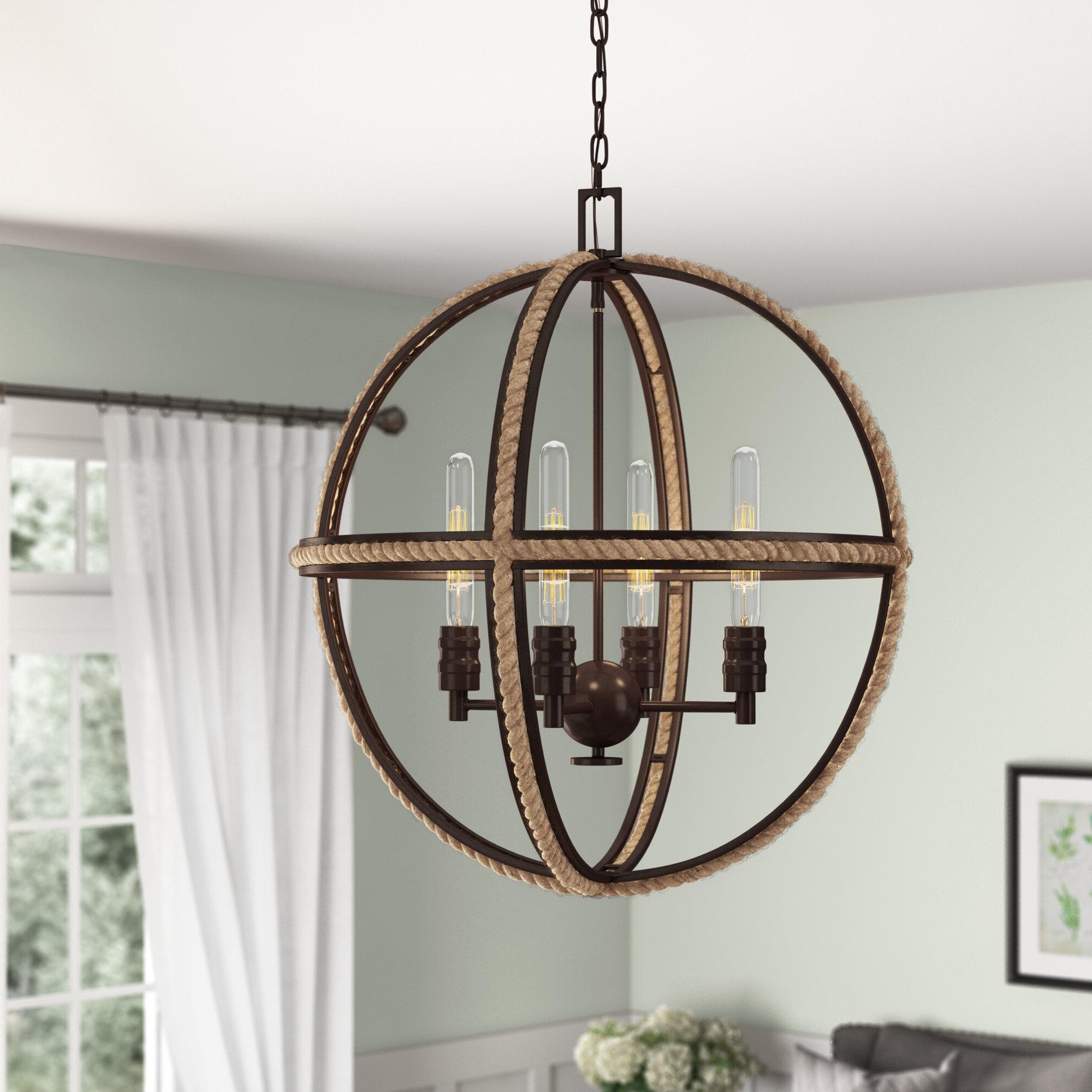 Kennett 4 Light Globe Chandelier Inside Well Liked Filipe Globe Chandeliers (Gallery 5 of 25)
