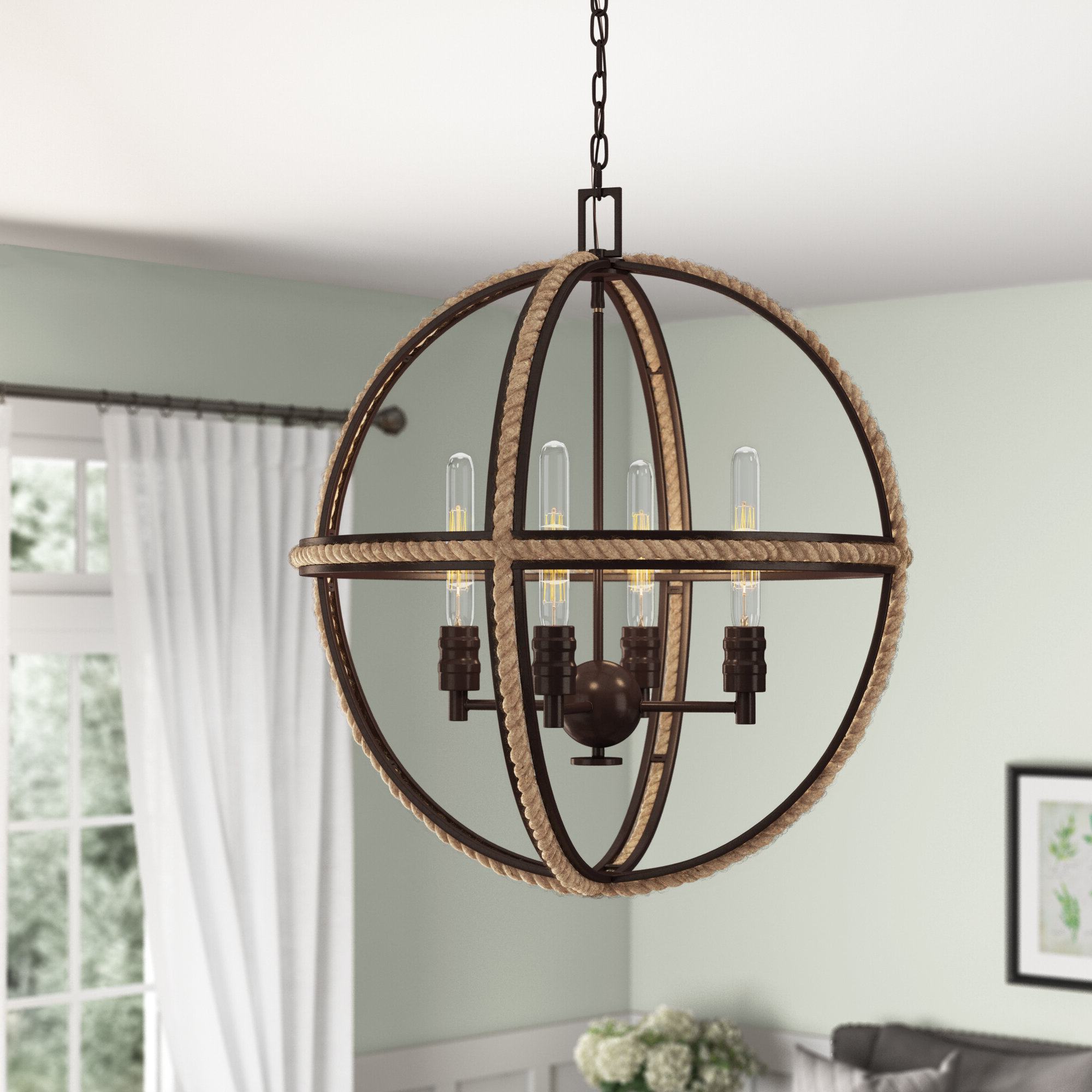 Kennett 4-Light Globe Chandelier intended for Newest Ricciardo 4-Light Globe Chandeliers