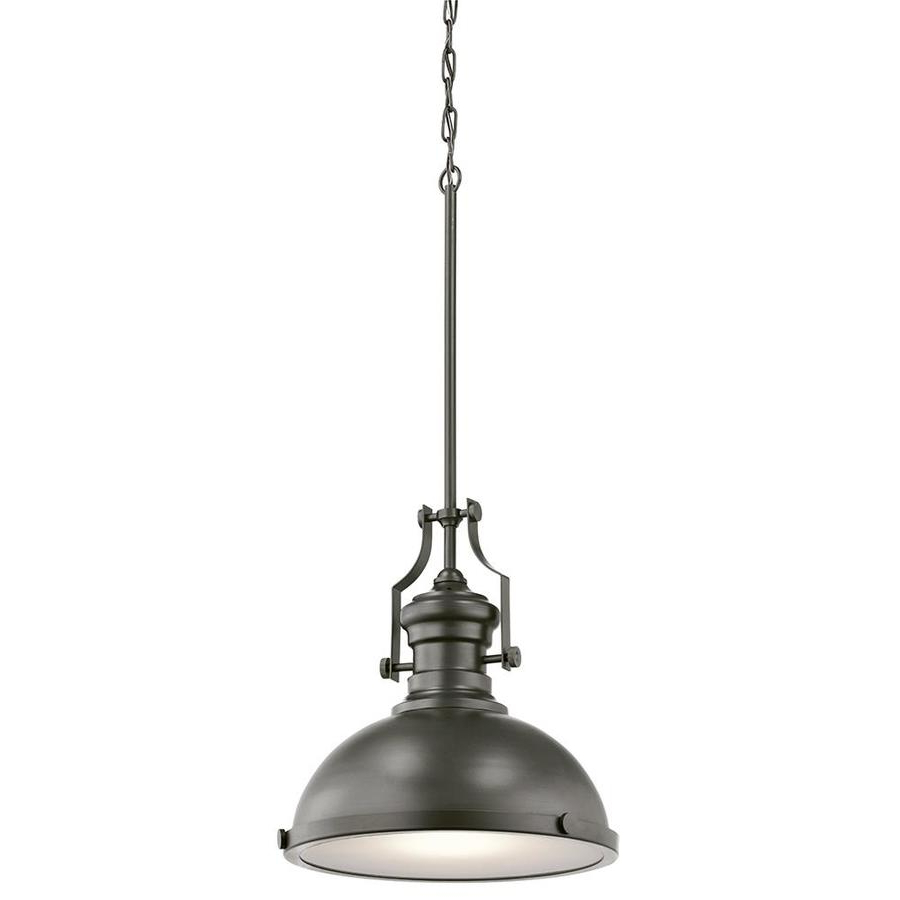 Kichler 12.2 In Bronze Barn Hardwired Single Etched Glass Dome Pendant Regarding Latest Hamilton 1 Light Single Dome Pendants (Gallery 17 of 25)