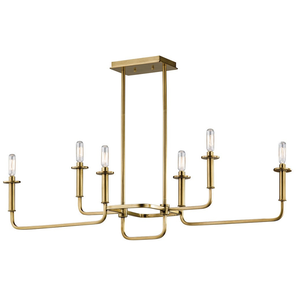 Kichler Lighting Alden Collection 6 Light Natural Brass Linear Chandelier Within Current Alden 6 Light Globe Chandeliers (View 13 of 25)