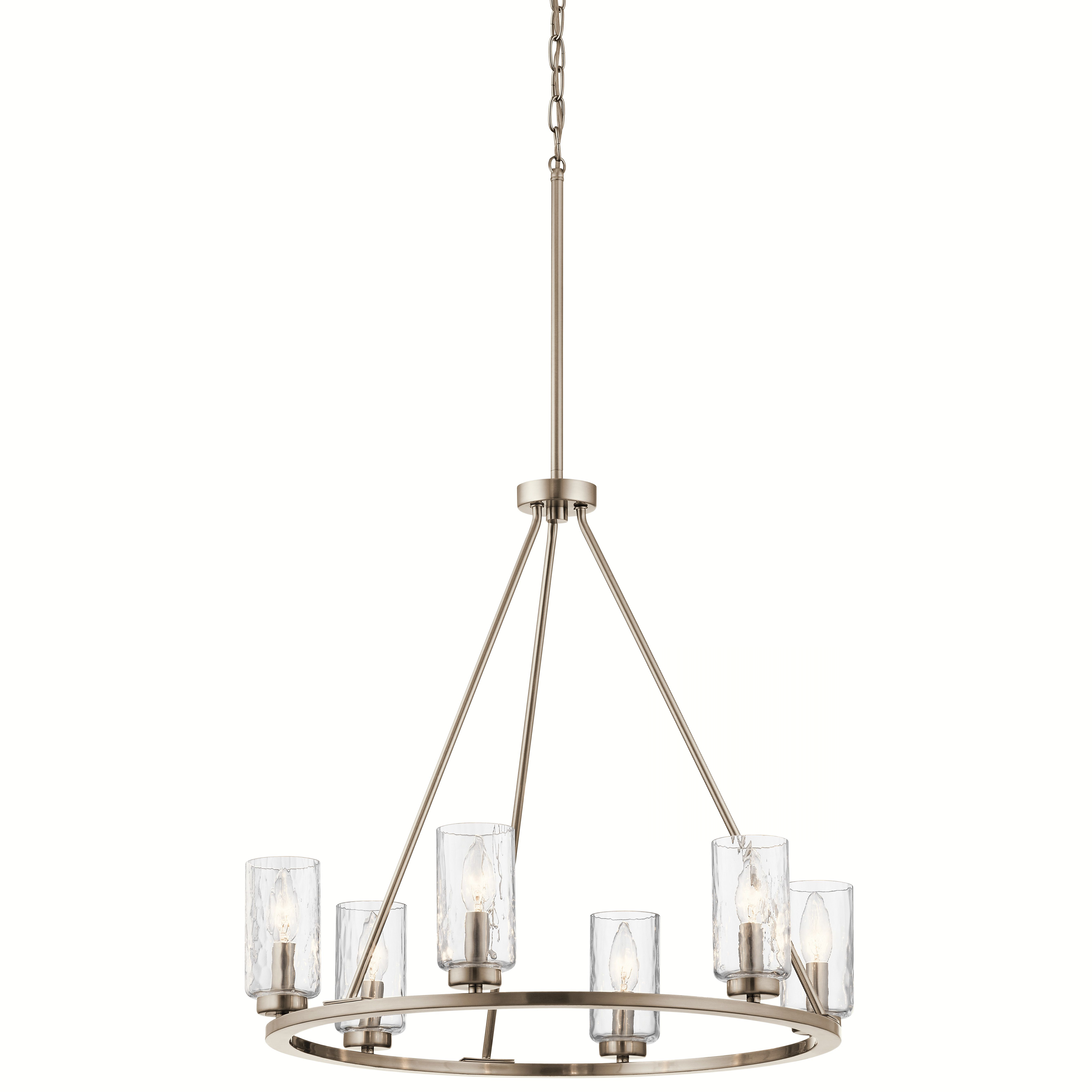 Kichler Marita 6 Light Brushed Nickel Transitional Textured Within Current Suki 5 Light Shaded Chandeliers (View 15 of 25)