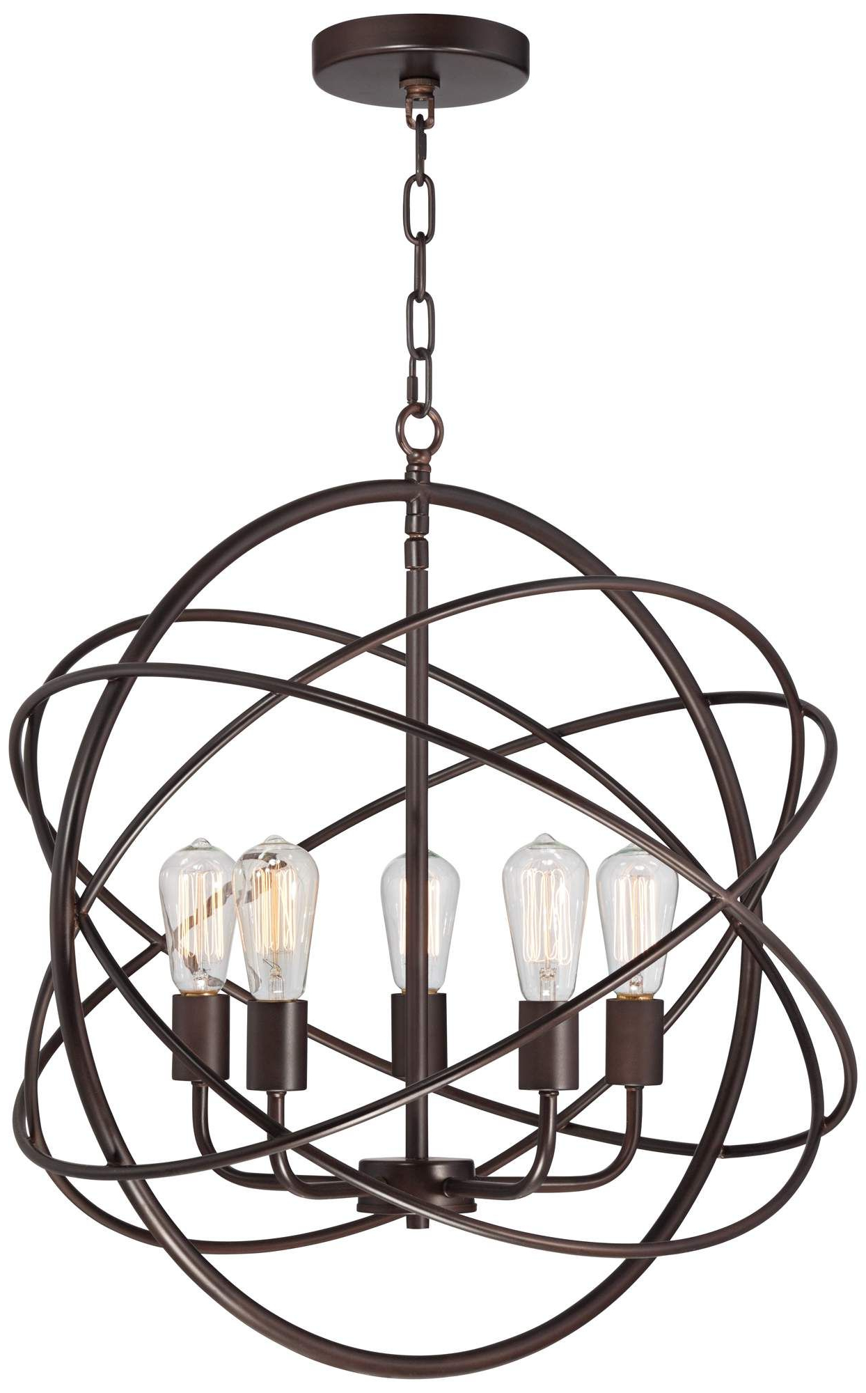 "Kierra 4 Light Unique / Statement Chandeliers Regarding Trendy Ellery 24 3/4"" Wide 5 Light Bronze Sphere Foyer Pendant In (Gallery 9 of 25)"