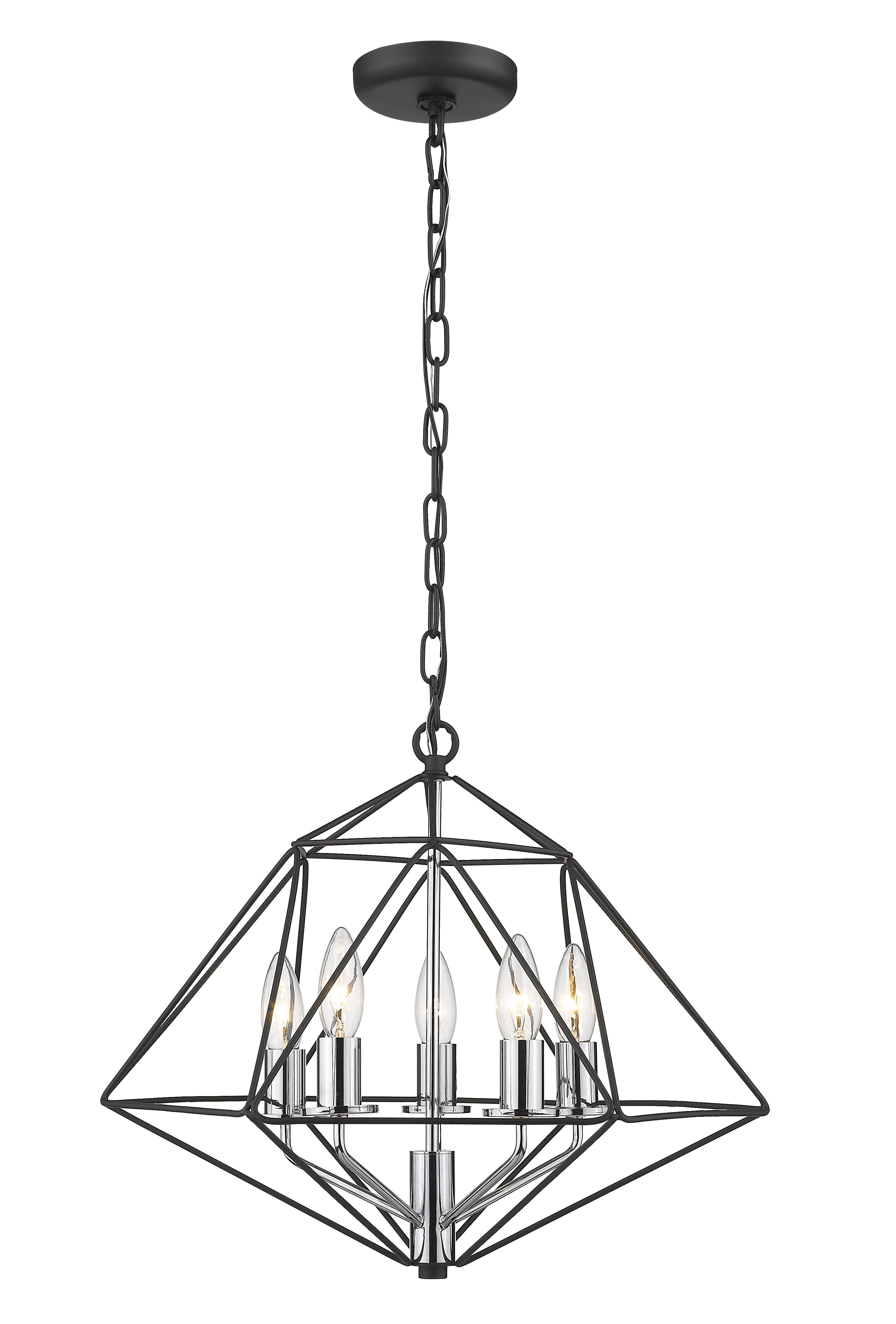Kiesel 5-Light Geometric Pendant throughout Preferred Rockland 4-Light Geometric Pendants